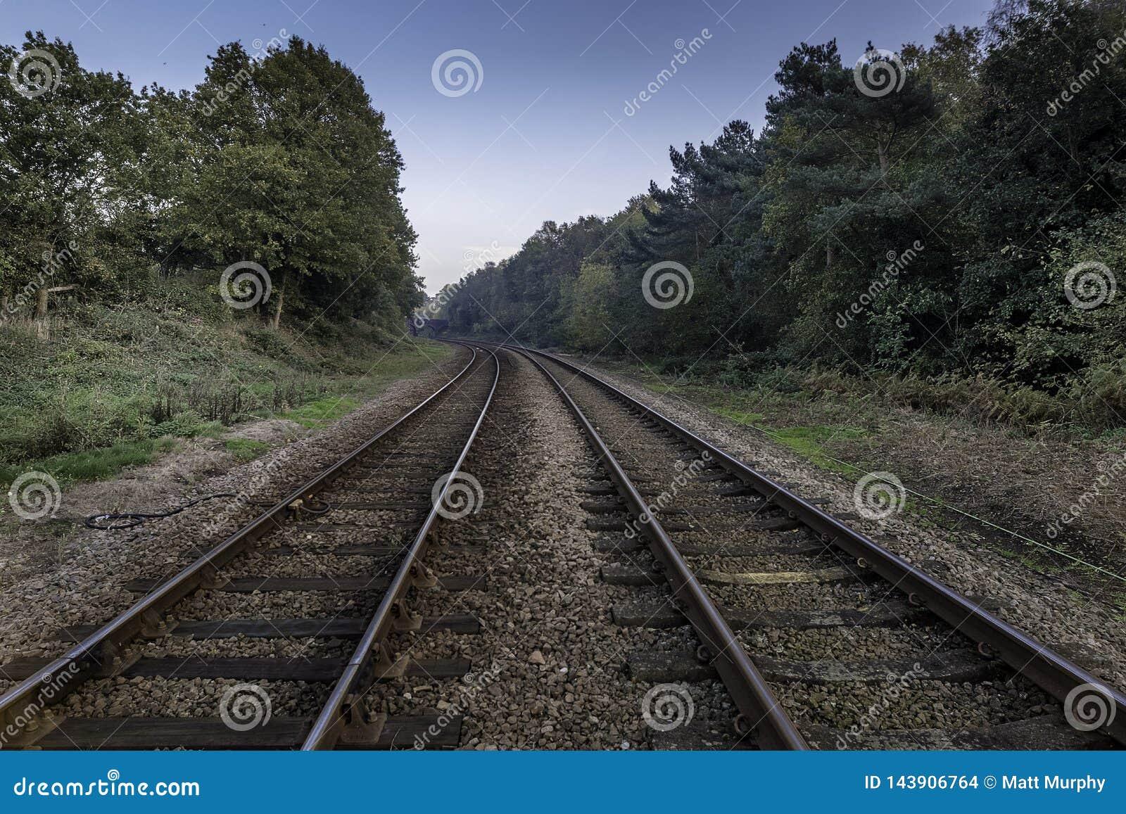 Bahngleise, die in Horizont verschwinden
