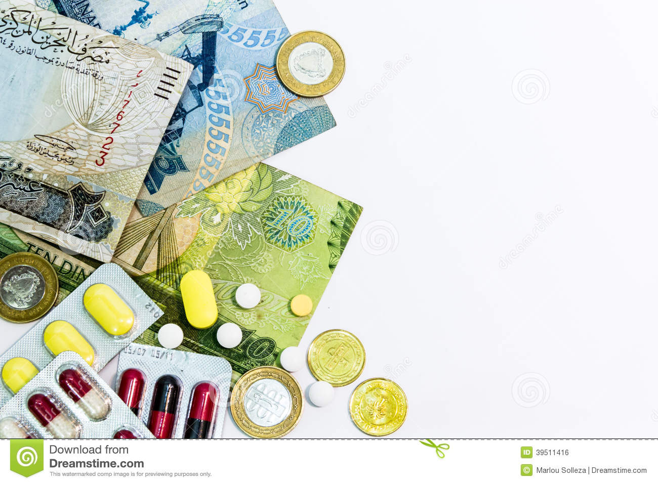 Bahrain Currency and medicine Close Up arranged on left