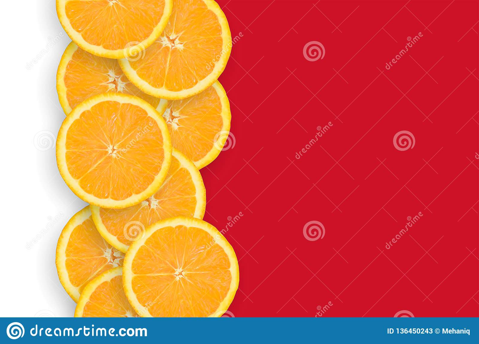 Bahrain Flag And Citrus Fruit Slices Vertical Row Stock