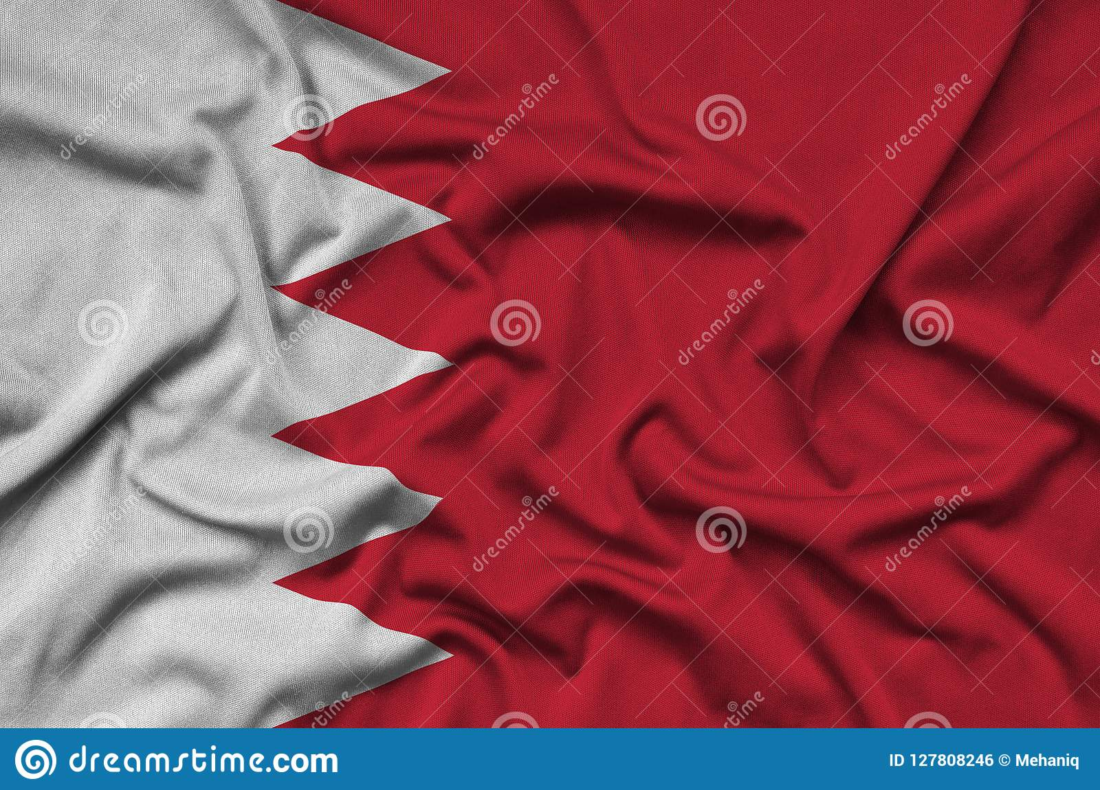 Bahrain Flag Is Depicted On A Sports Cloth Fabric With Many