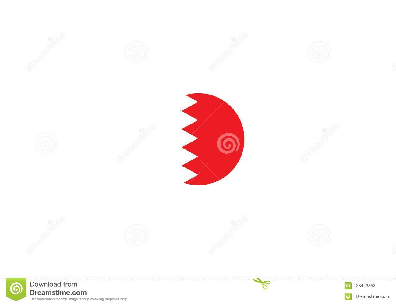 Bahrain National Flag Coat Of Arms Middle East Stock Illustration