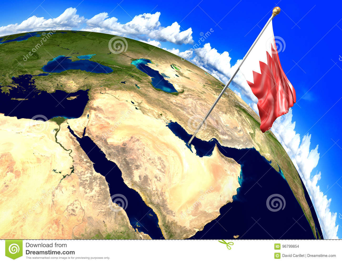 Bahrain National Flag Marking The Country Location On World Map ...