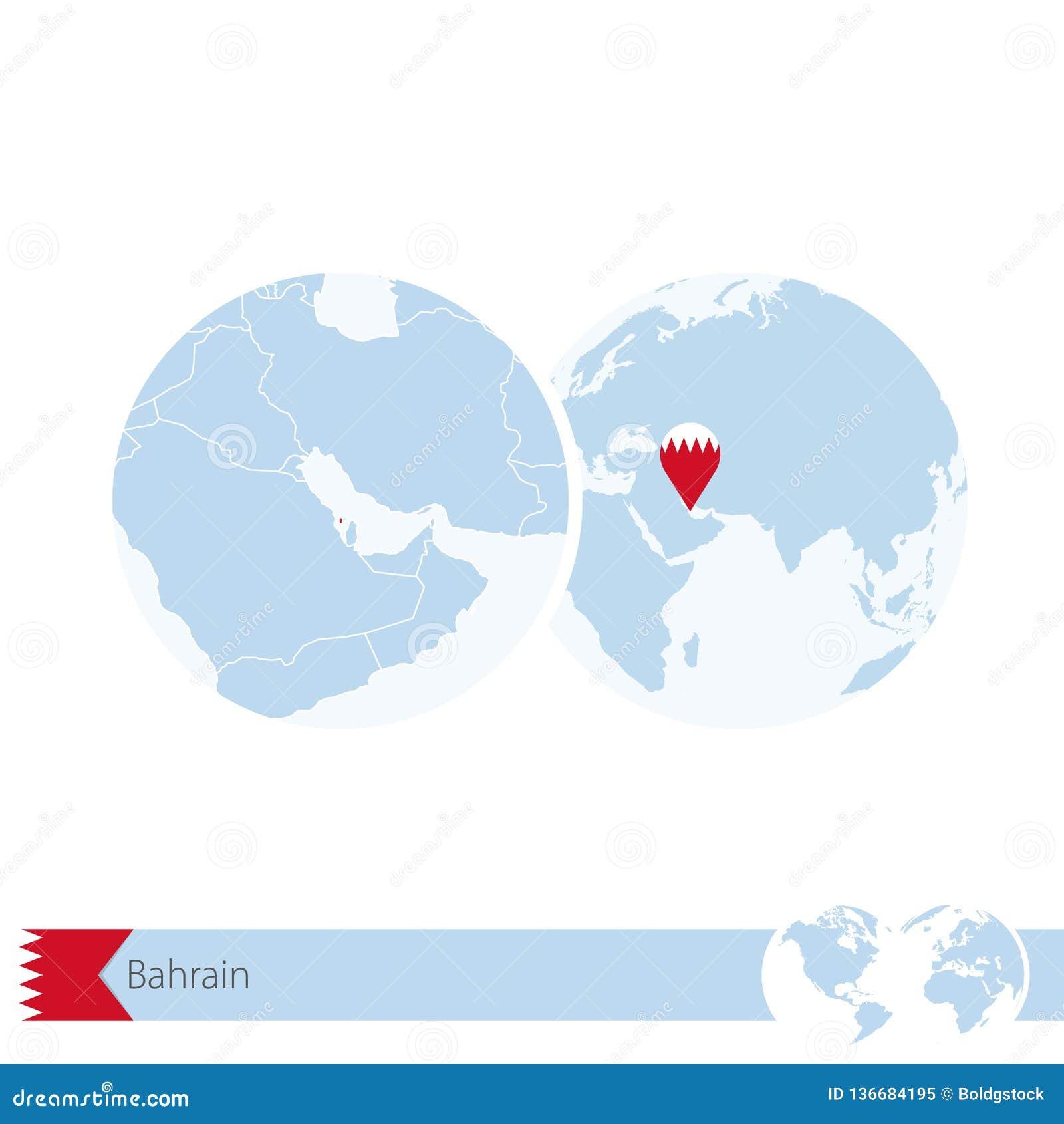 Bahrain On A World Map.Bahrain On World Globe With Flag And Regional Map Of Bahrain Stock