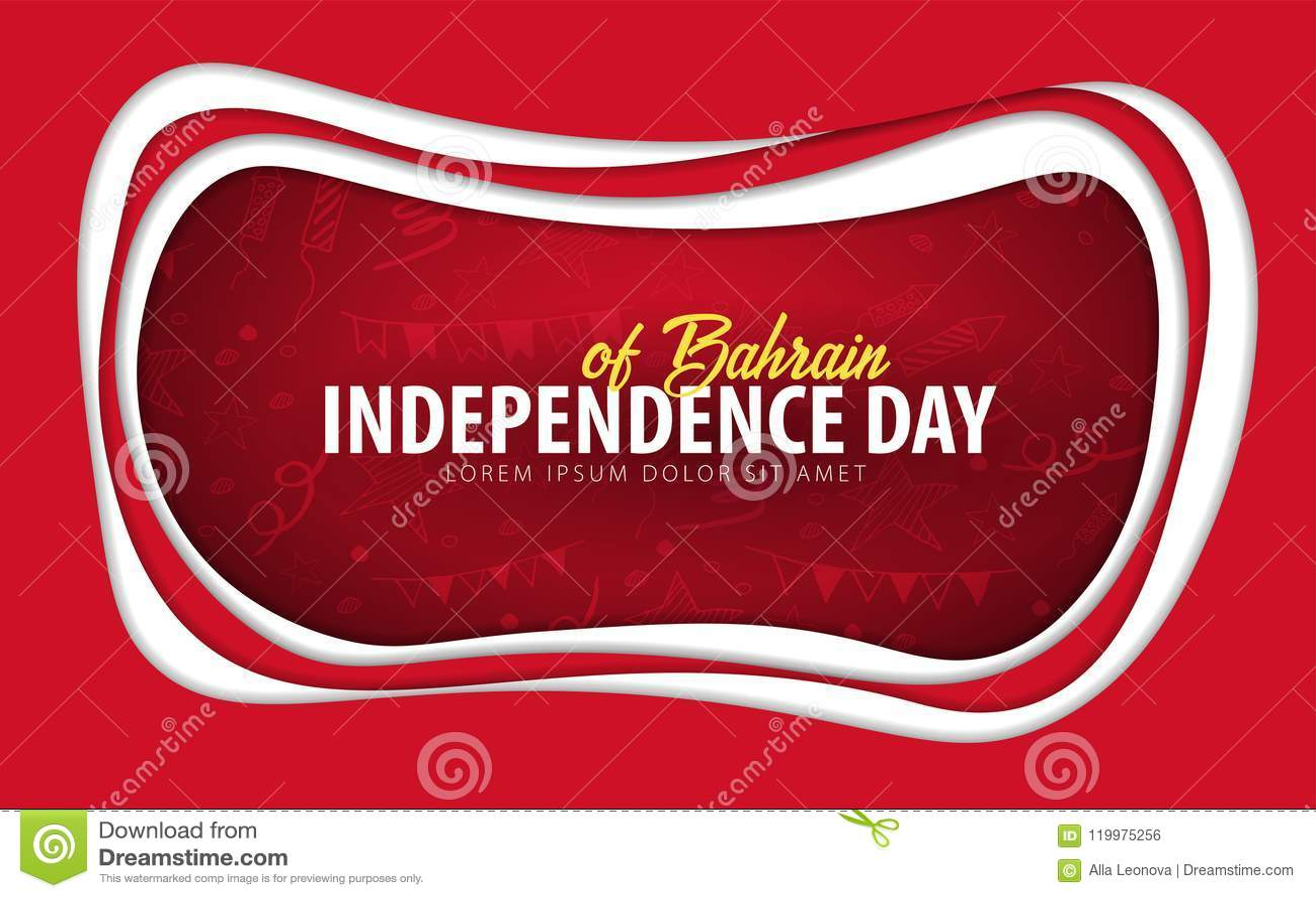 Bahrein De groetkaart van de onafhankelijkheidsdag het document sneed stijl