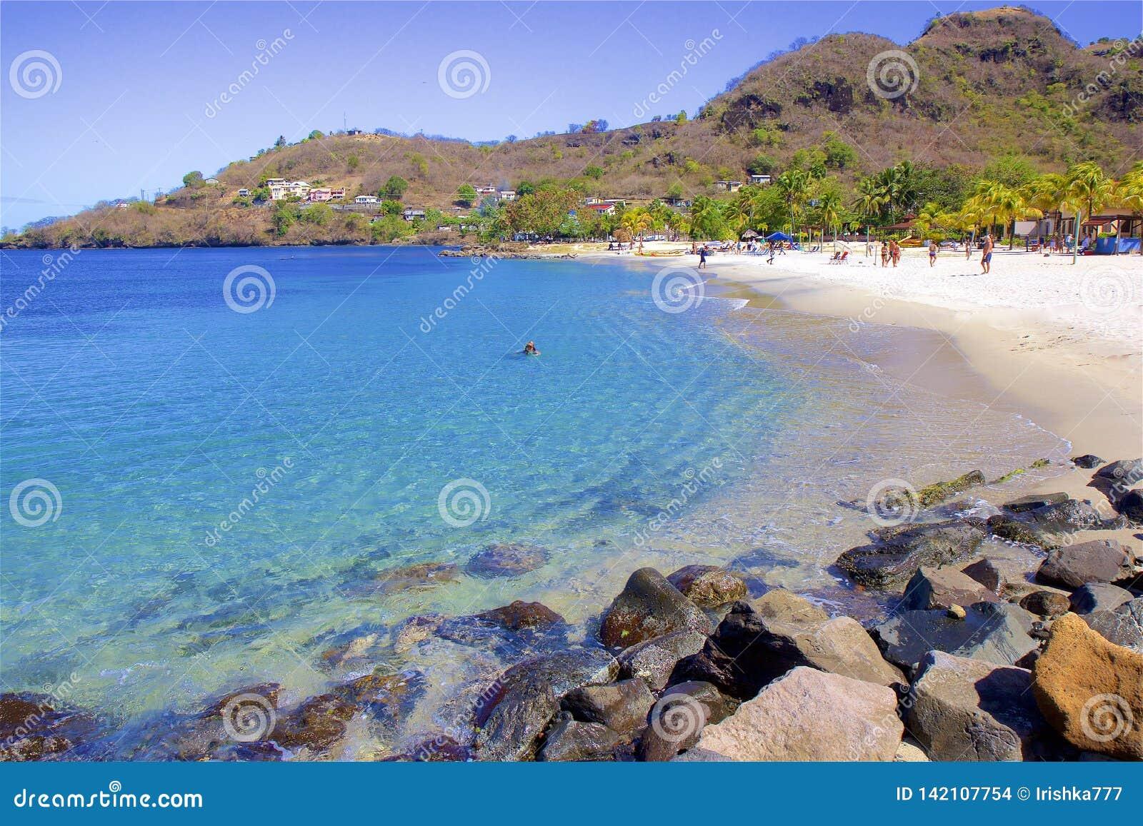 Baia di Buccament in St Vincent, i Caraibi