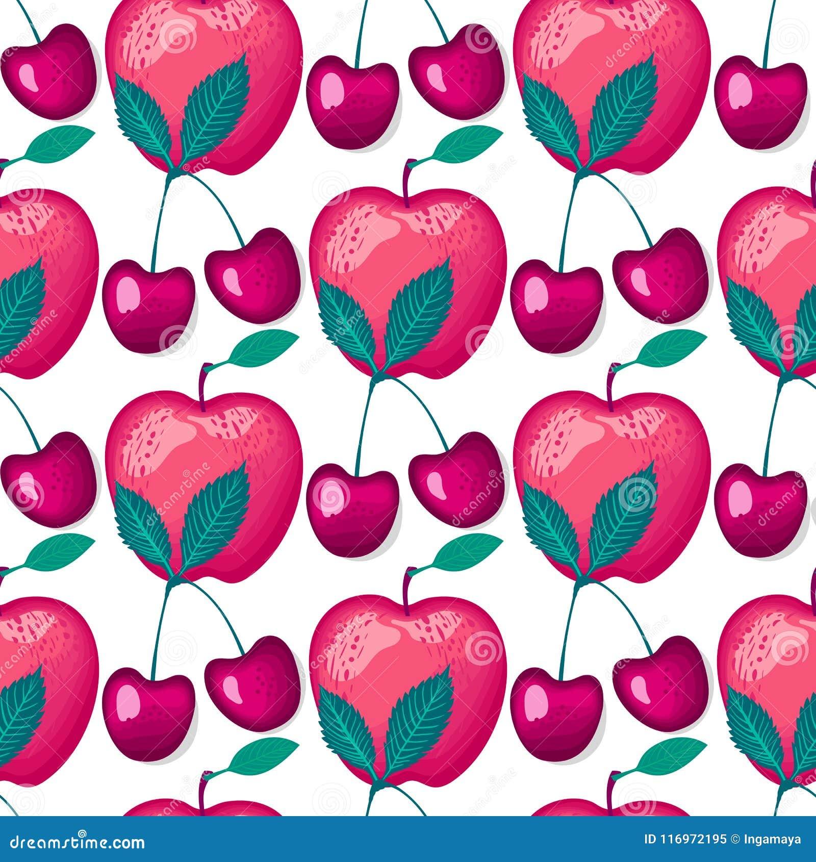 Baies de cerises avec les pommes rouges Modèle sans couture de vecteur sur le blanc