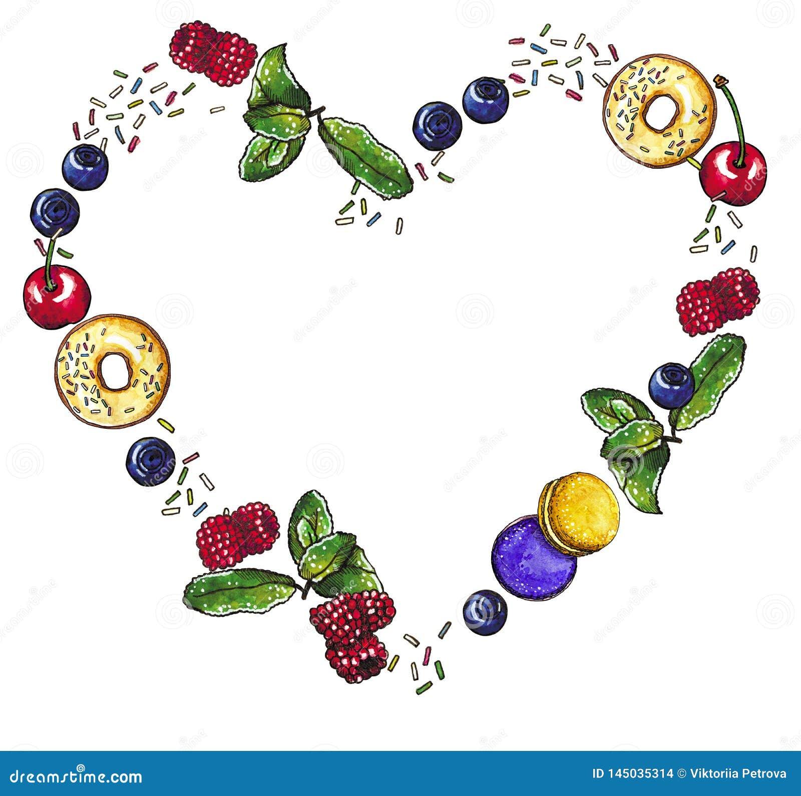 Baies, guirlande en forme de coeur de dessert naturel doux, illustration tirée par la main d aquarelle