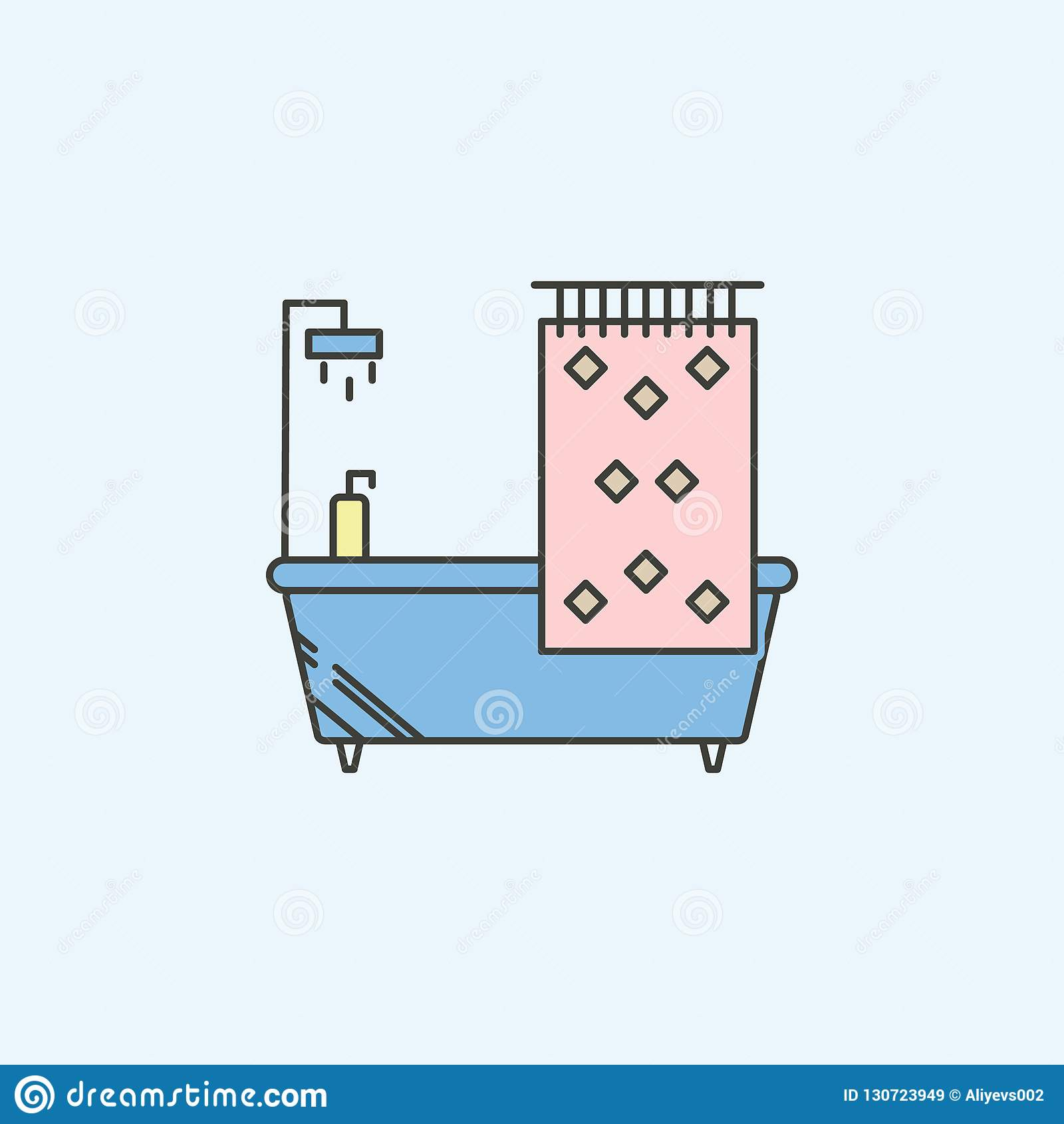 Baignoire avec l icône de rideau en douche Élément d icône de ménage pour des applis mobiles de concept et de Web Baignoire color