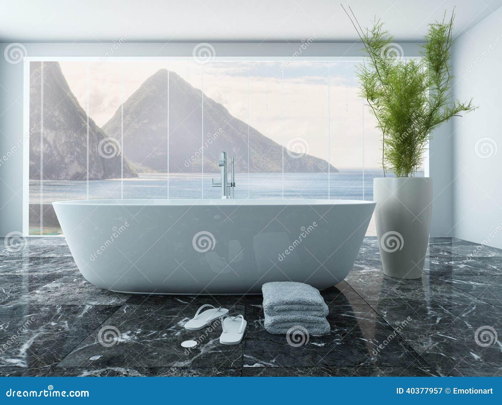 Baignoire blanche devant le plancher la fen tre de for Devant la fenetre