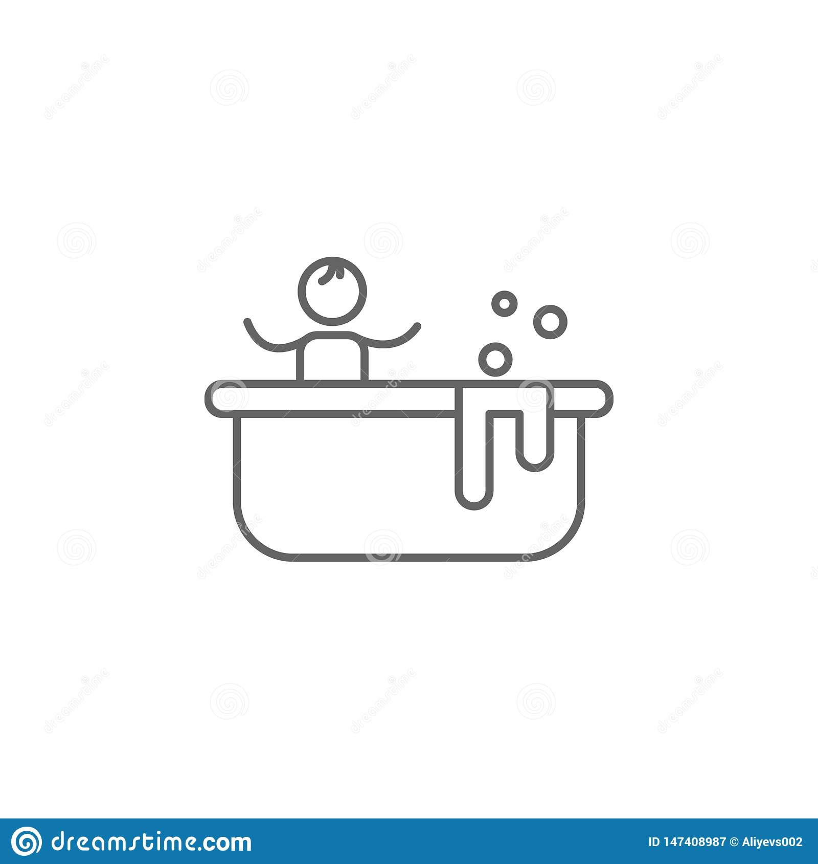 Baignoire, mère, icône de bébé r Ligne mince ic?ne pour la conception de site Web et le d?veloppement, d?veloppement d APP