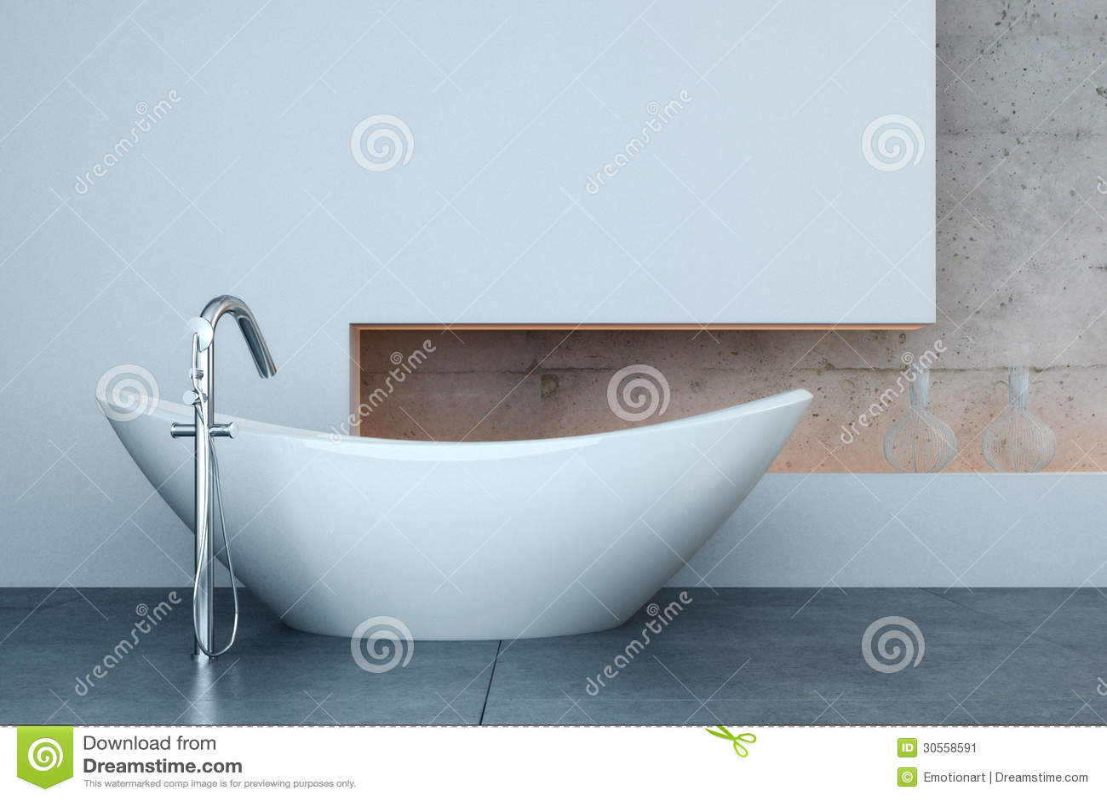 baignoire moderne devant le mur blanc image stock image 30558591. Black Bedroom Furniture Sets. Home Design Ideas