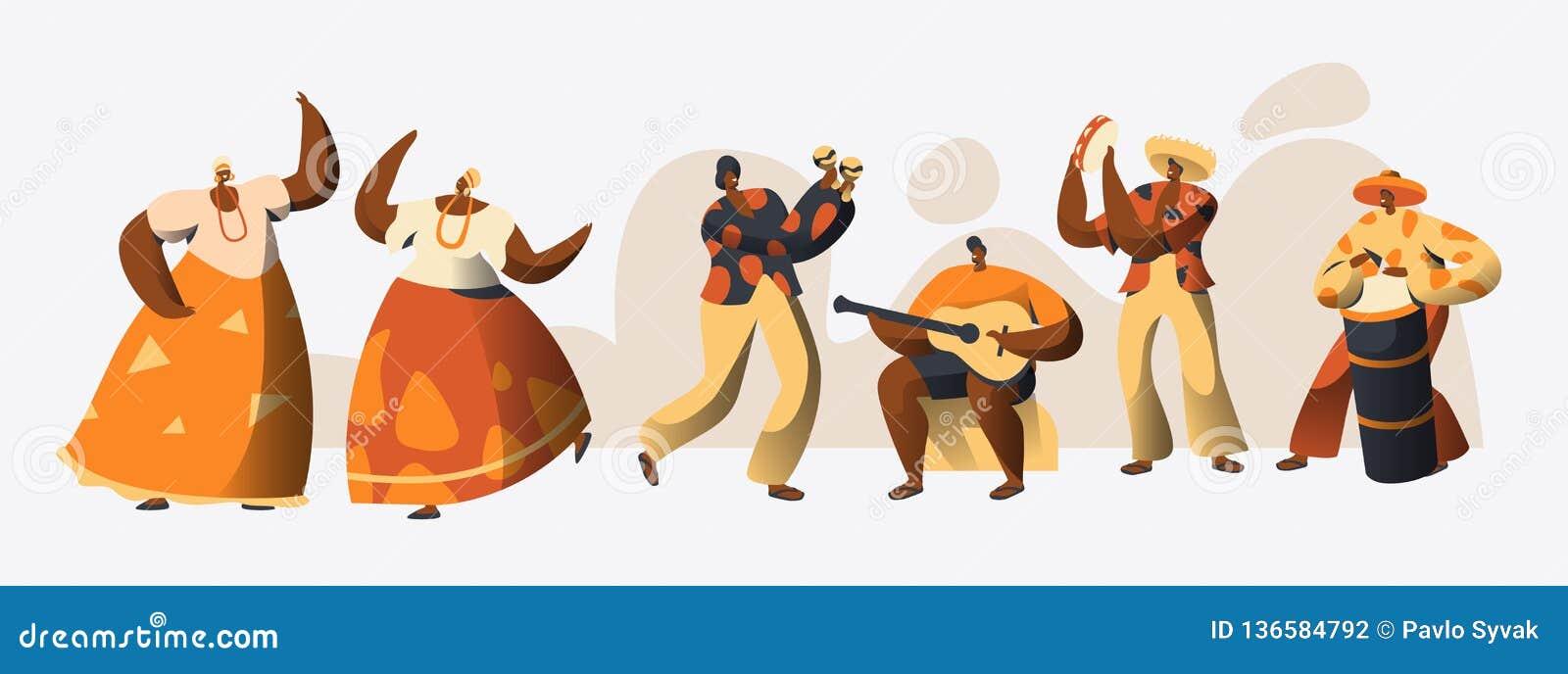 Bailarín brasileño Set del carácter del carnaval Danza de la mujer en el traje tradicional del Brasil en la celebración de la fes