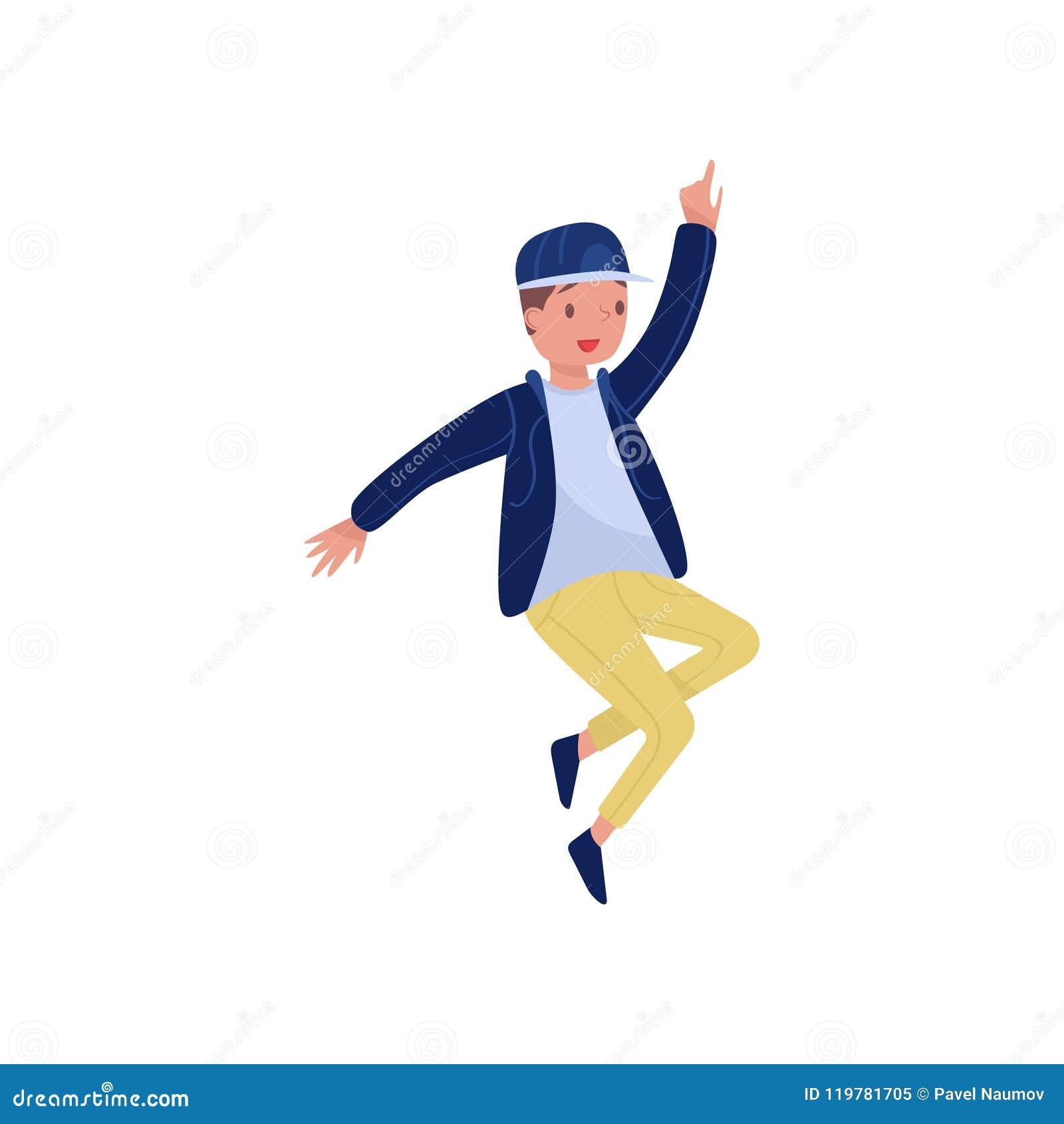 Bailarín del hip-hop en la acción Muchacho del adolescente con la cara feliz Party el tiempo Elemento plano del vector para el ca