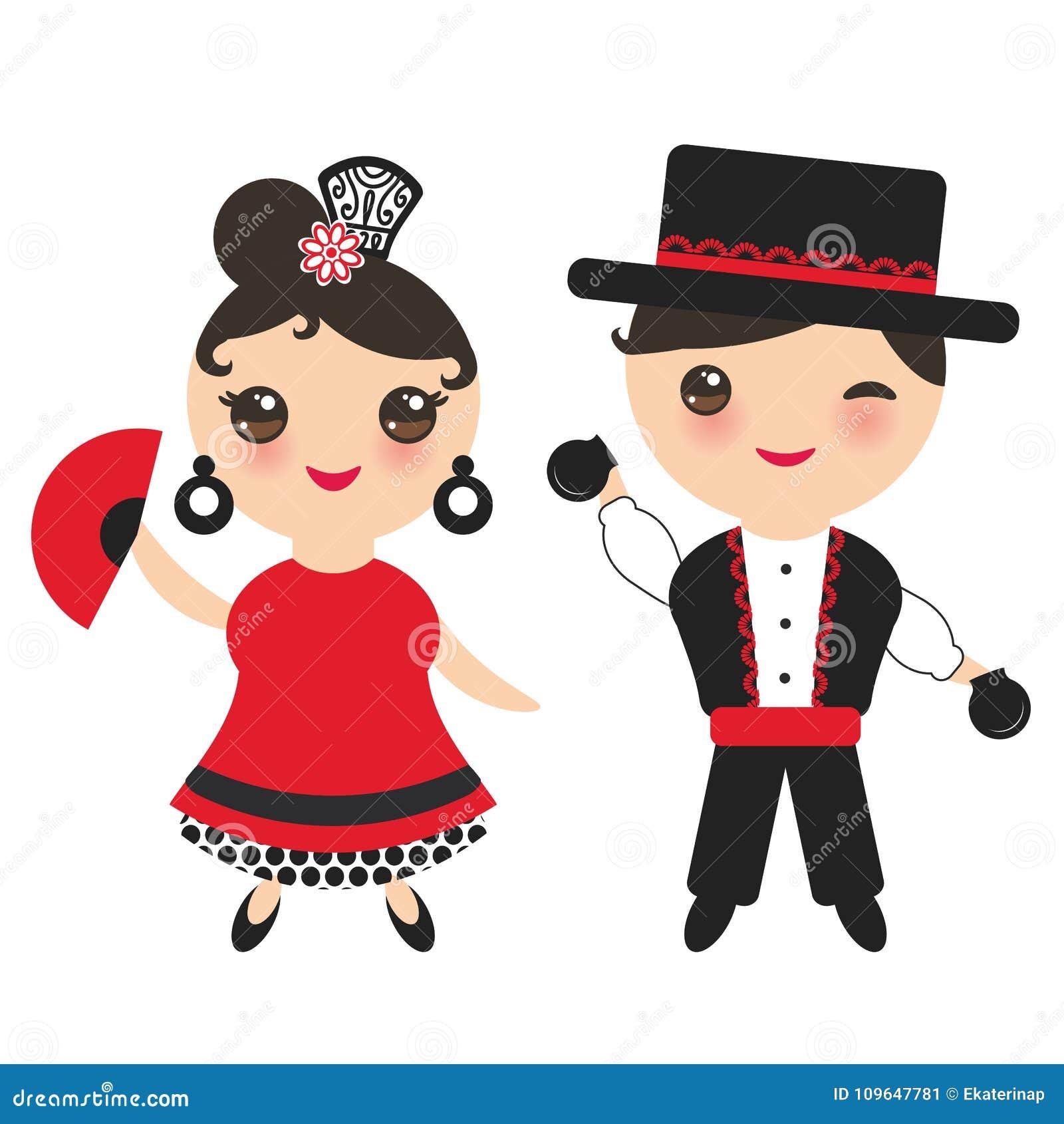 Bailarín español del flamenco La cara linda de Kawaii con las mejillas rosadas y el guiño observa Muchacha y muchacho gitanos, ve