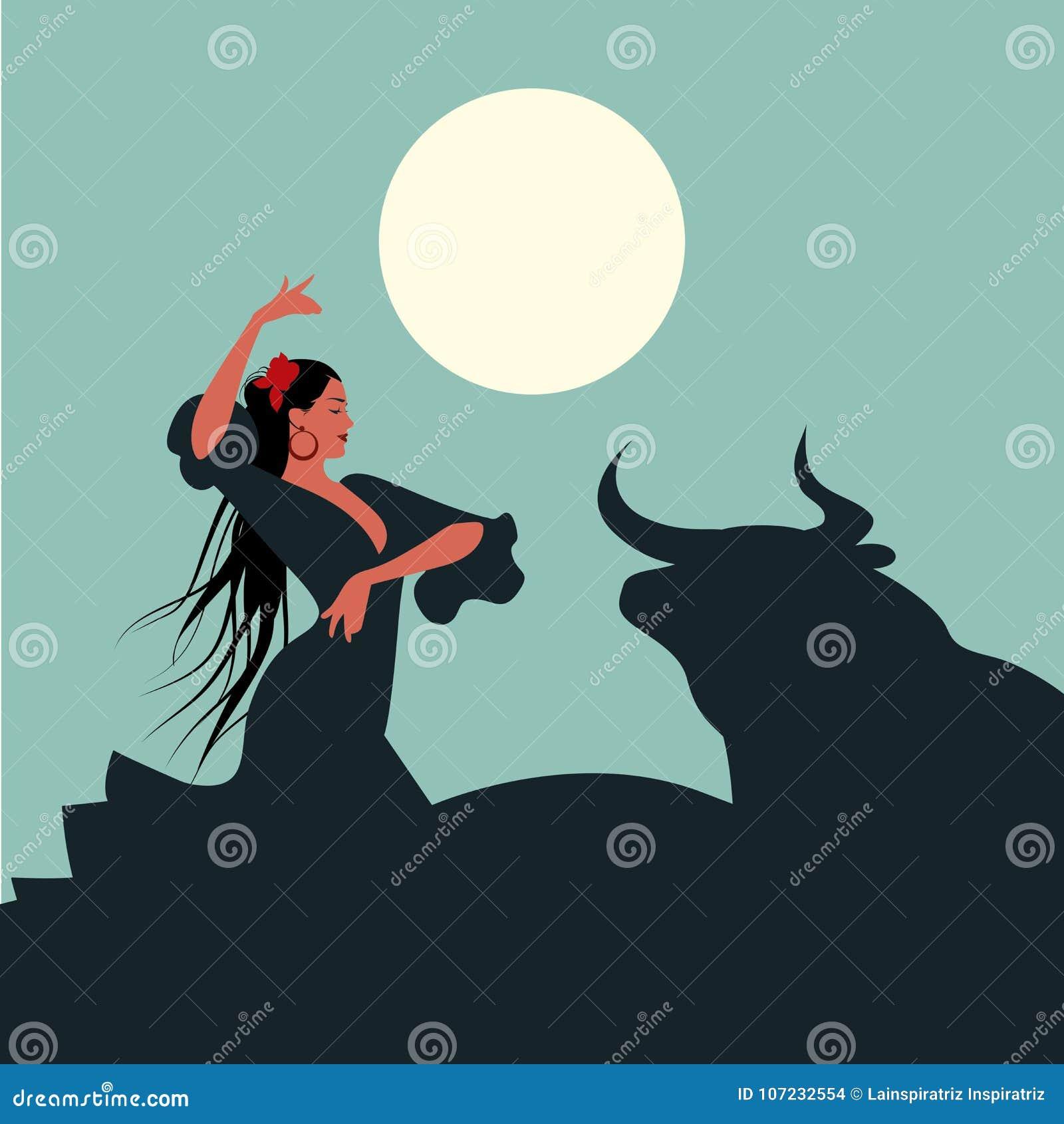 Bailarín español elegante y hermoso del flamenco con el pelo largo, bailando delante de un toro debajo de la luna