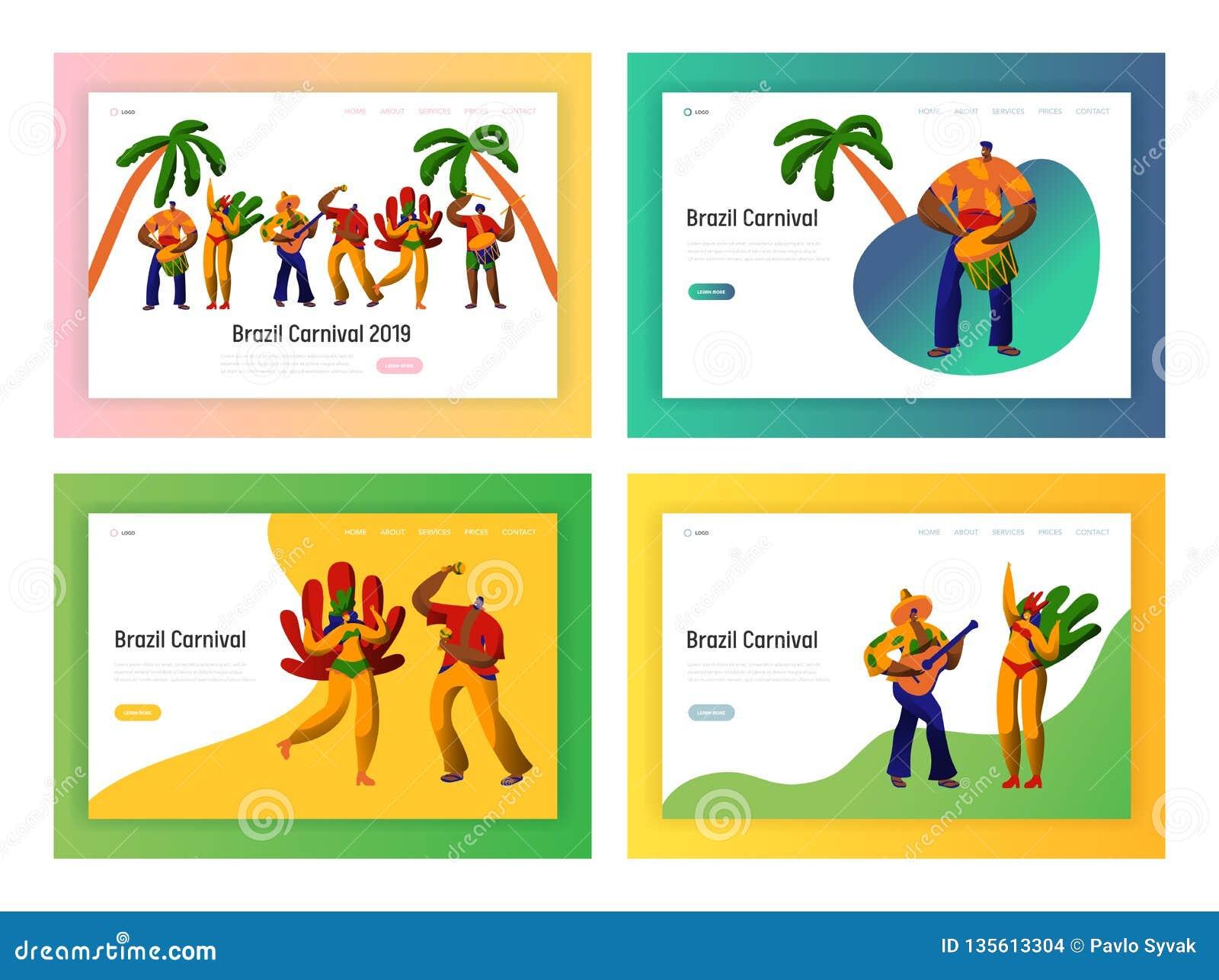 733b8c955f56 Bailarín Landing Page Set Del Partido Del Carnaval Del Brasil Danza ...