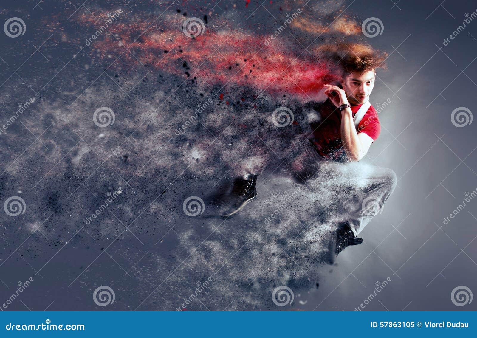 Bailarín surrealista que se descompone en partículas