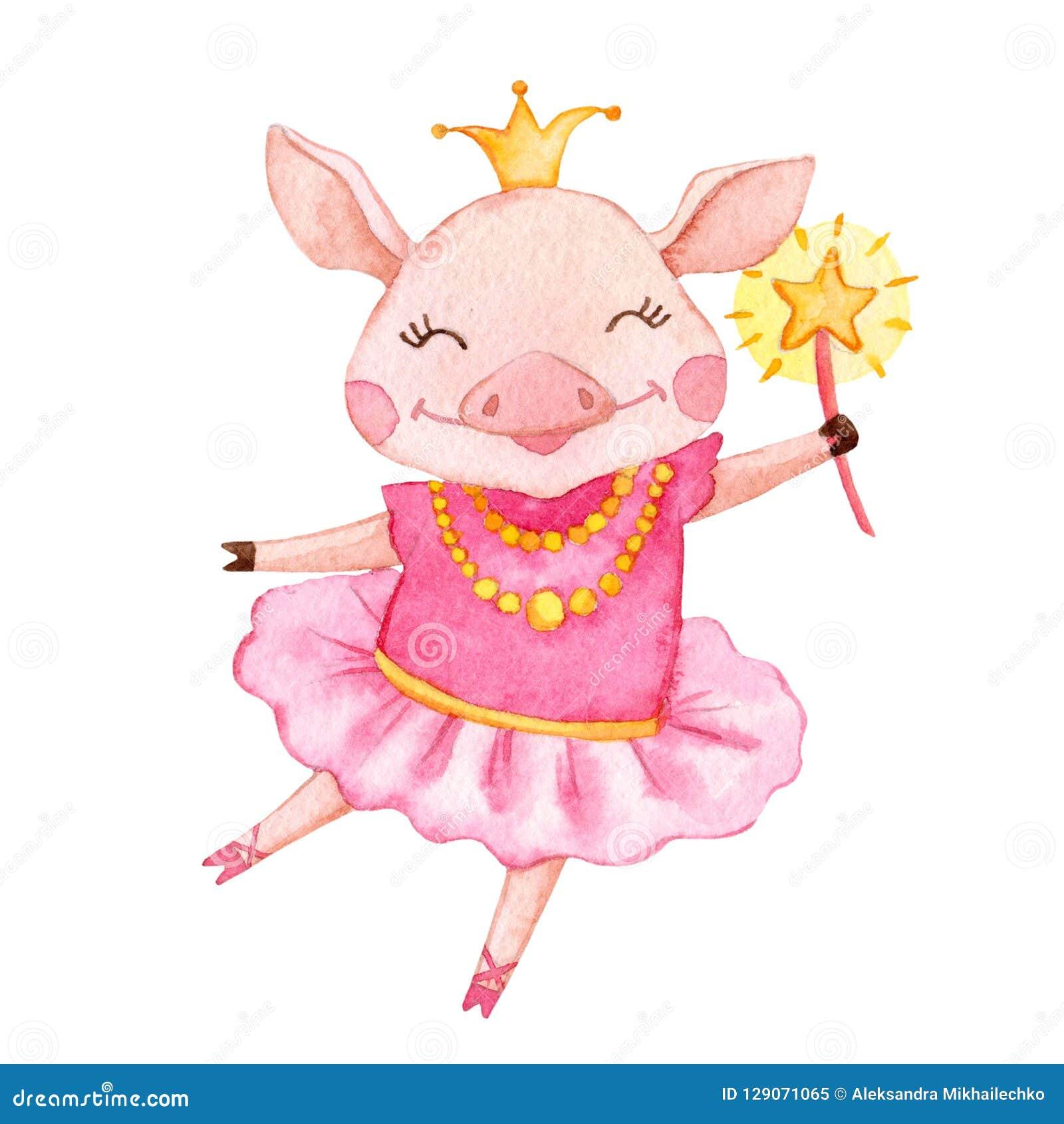 Bailarina linda del cerdo de la acuarela
