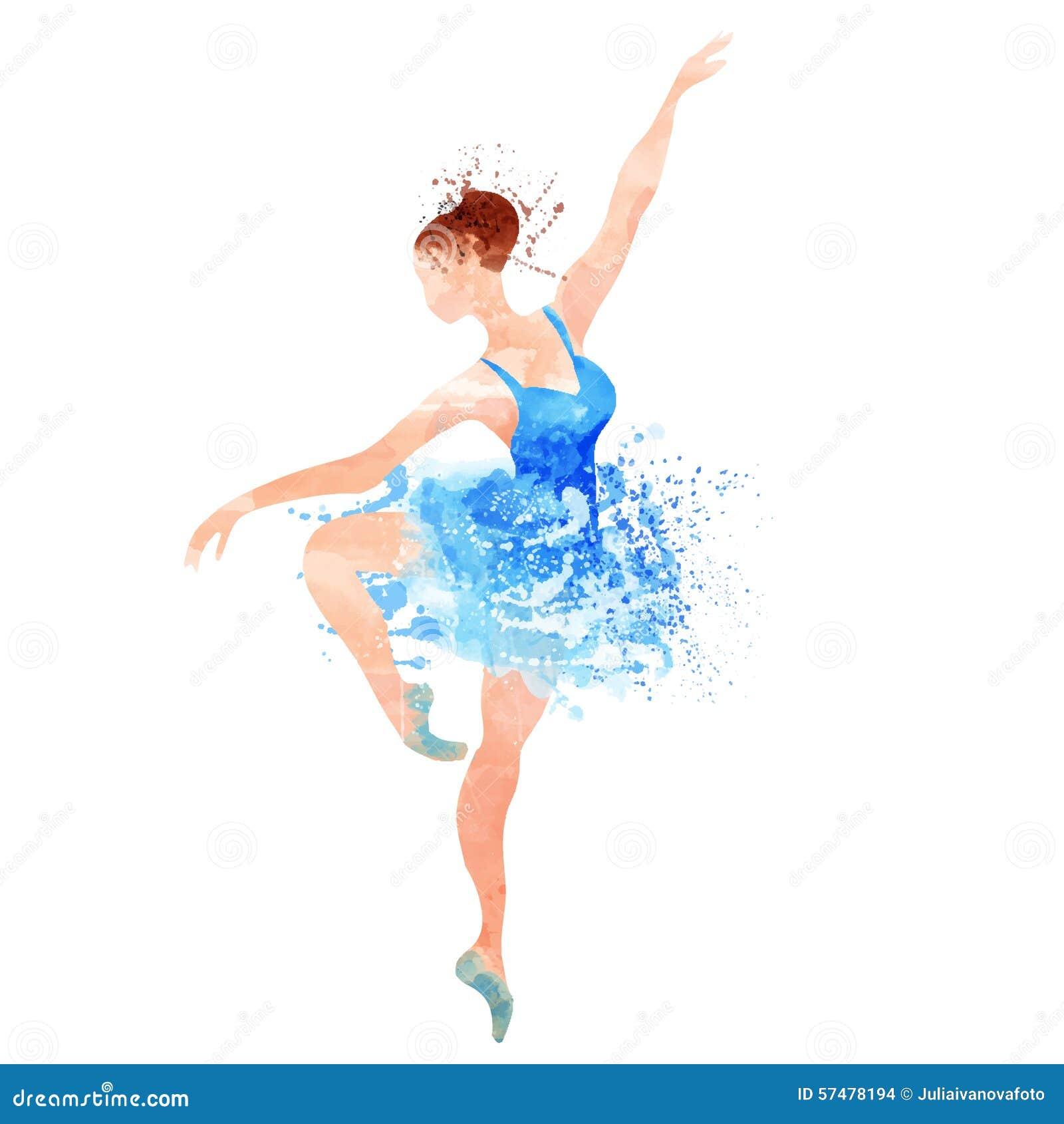 bailarina na aquarela azul do vetor ilustração do vetor ilustração