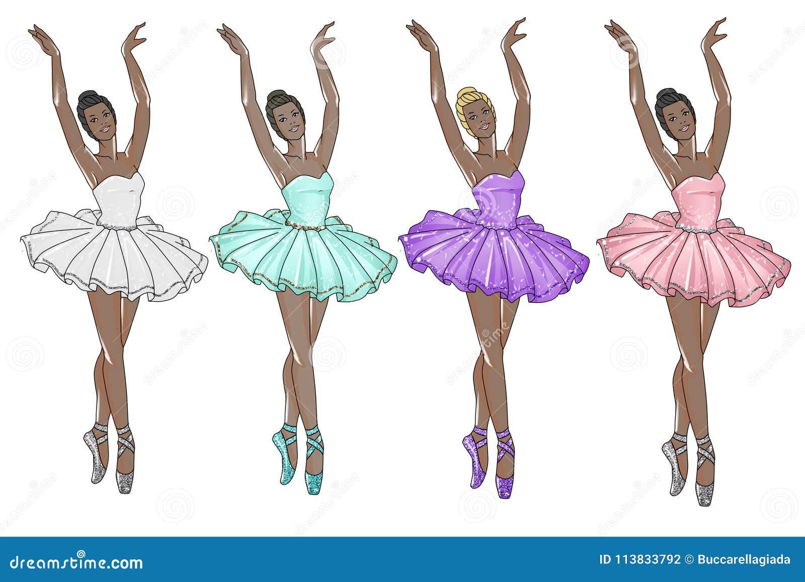 4af9570b92339 Bailarinas que llevan el tutú en diversos colores - bailarina oscura del  tono de piel