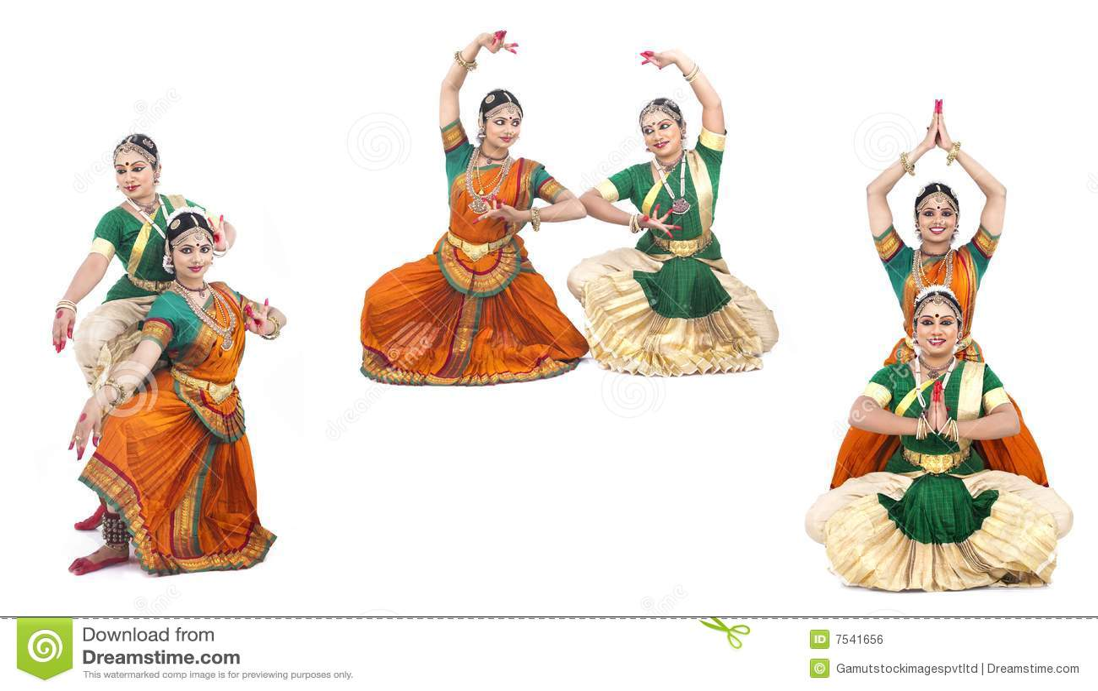 Bailarines de sexo femenino clásicos indios