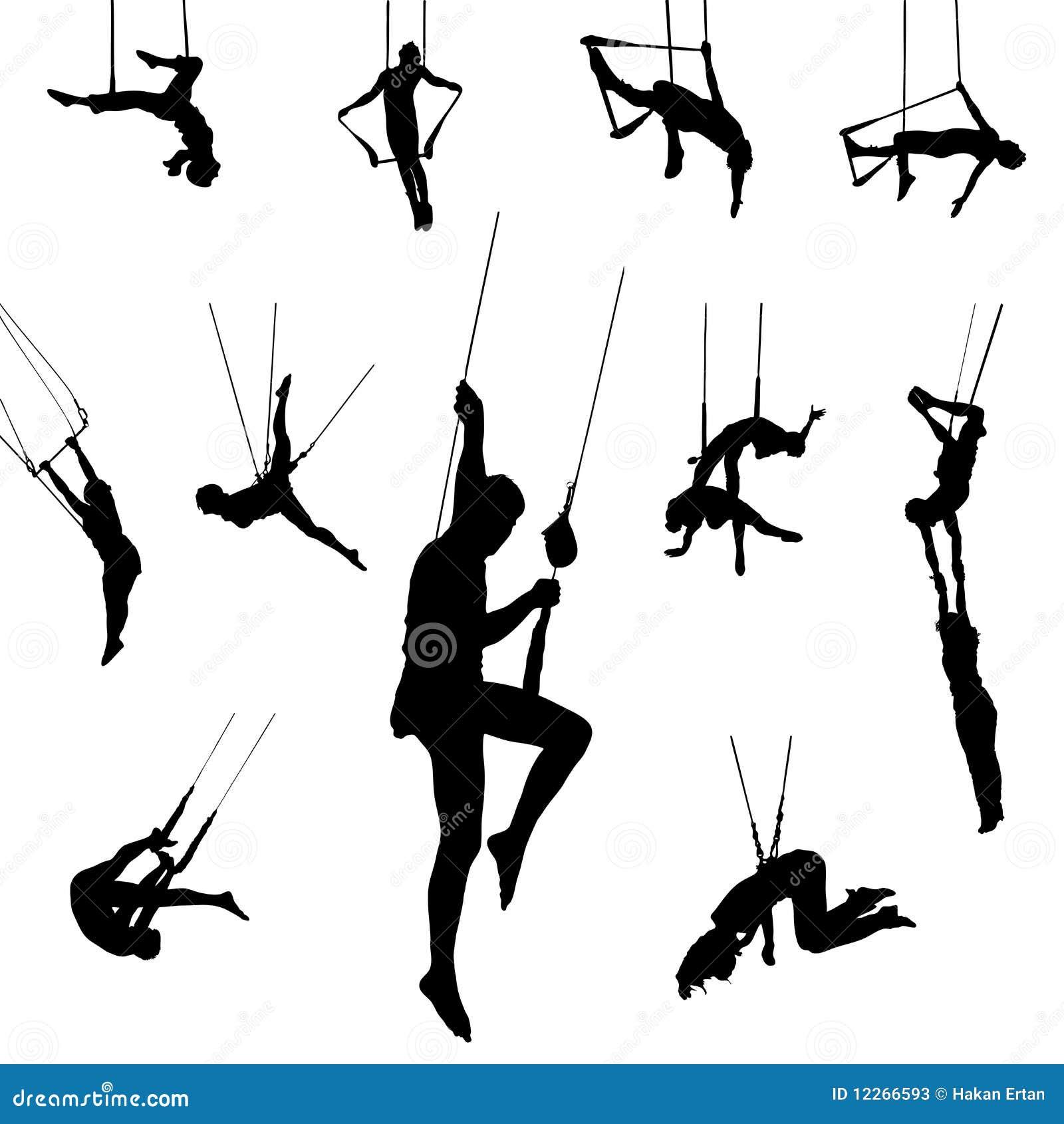 Bailarines del trapeze del vector
