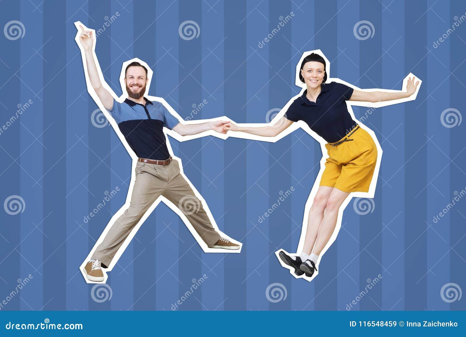 Bailarines del woogie de la boogie de la danza del salto de Lindy o del rollo del ` del ` n de la roca