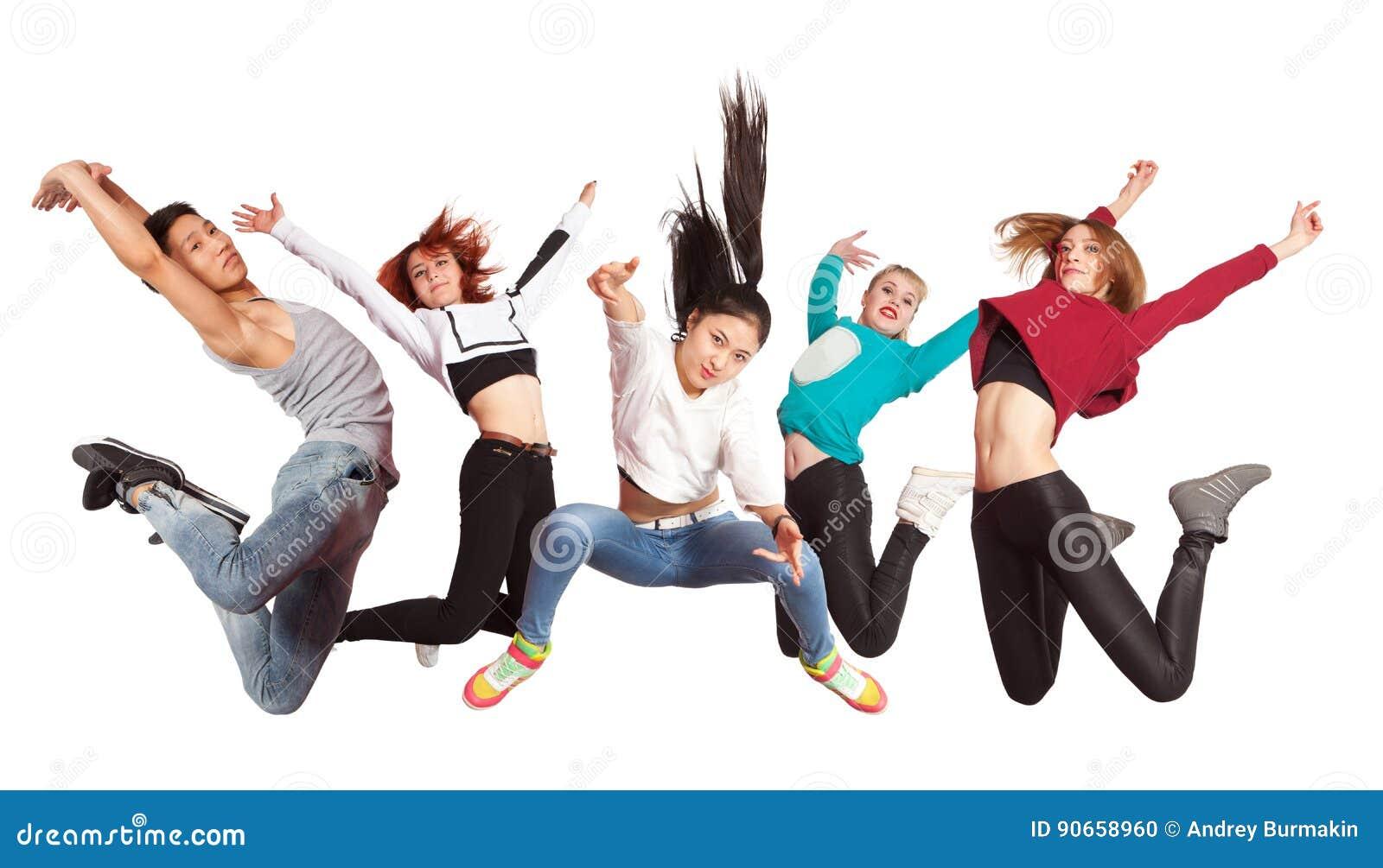 Baile de baile moderno joven de la práctica del grupo