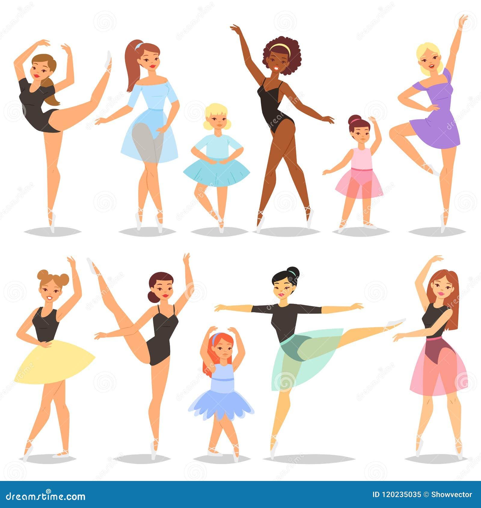 Baile del carácter de la bailarina del vector del bailarín de ballet en sistema del ejemplo del tutú de la ballet-falda de la muj