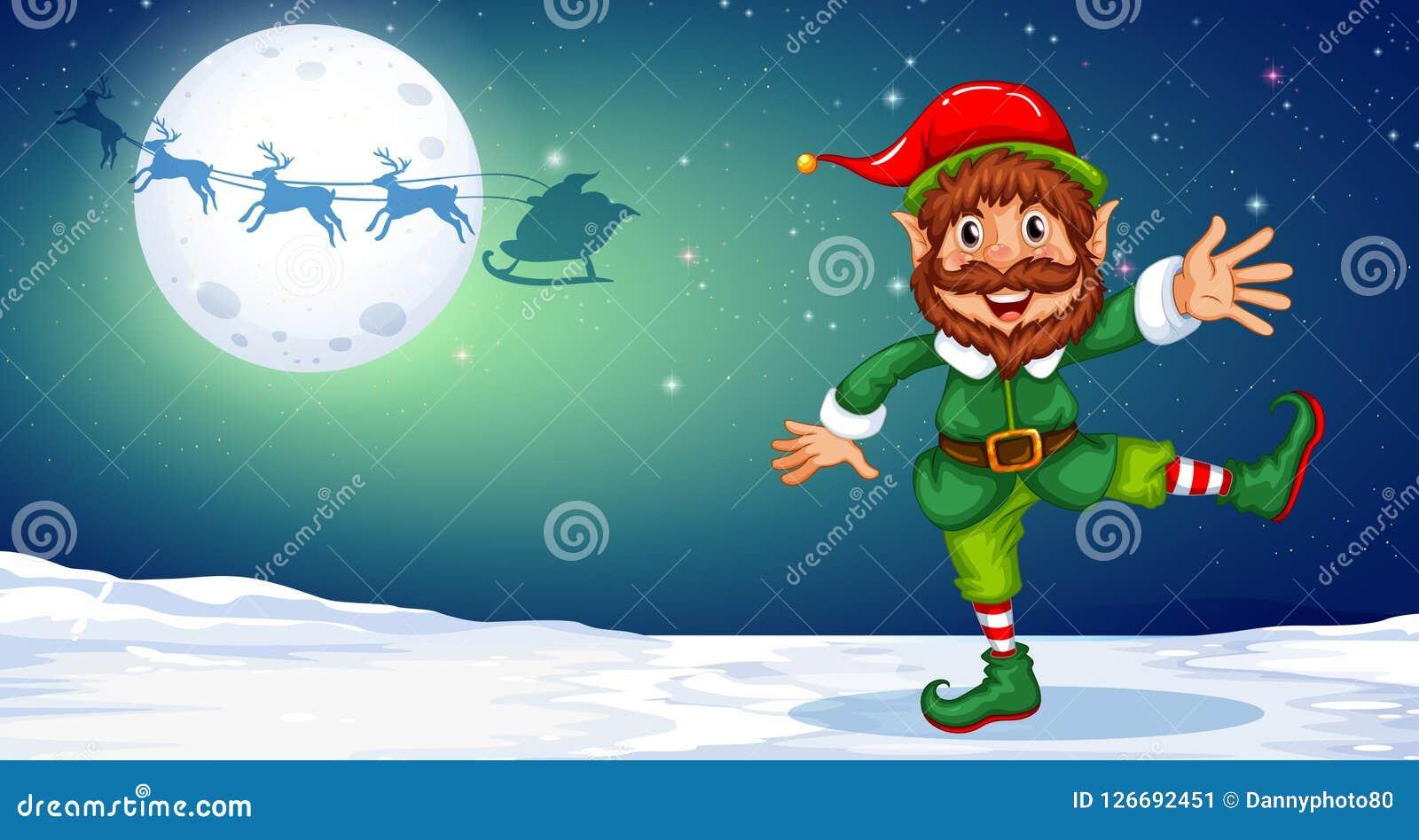 Baile del duende de la Navidad en la nieve