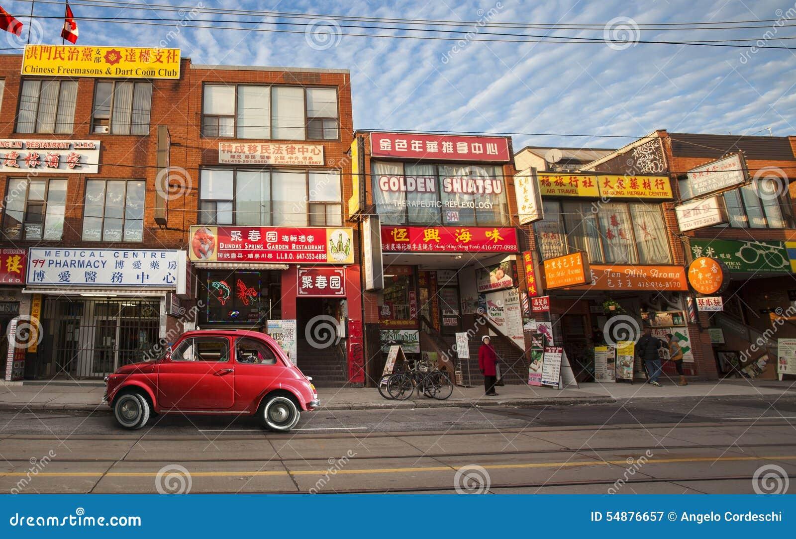 Bairro chinês em Toronto (Canadá) e no carro italiano vermelho velho