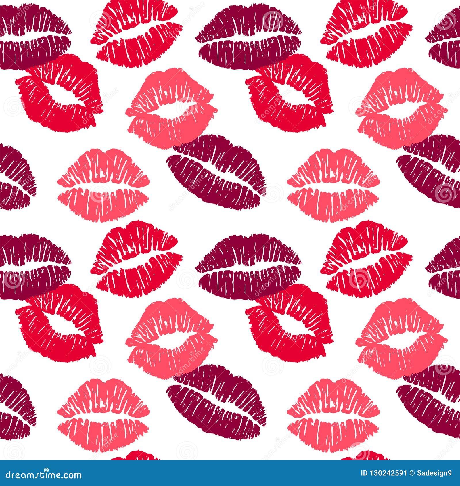 Baiser différent femelle de rouge à lèvres de couleurs d isolement sur le fond blanc Dirigez la configuration sans joint