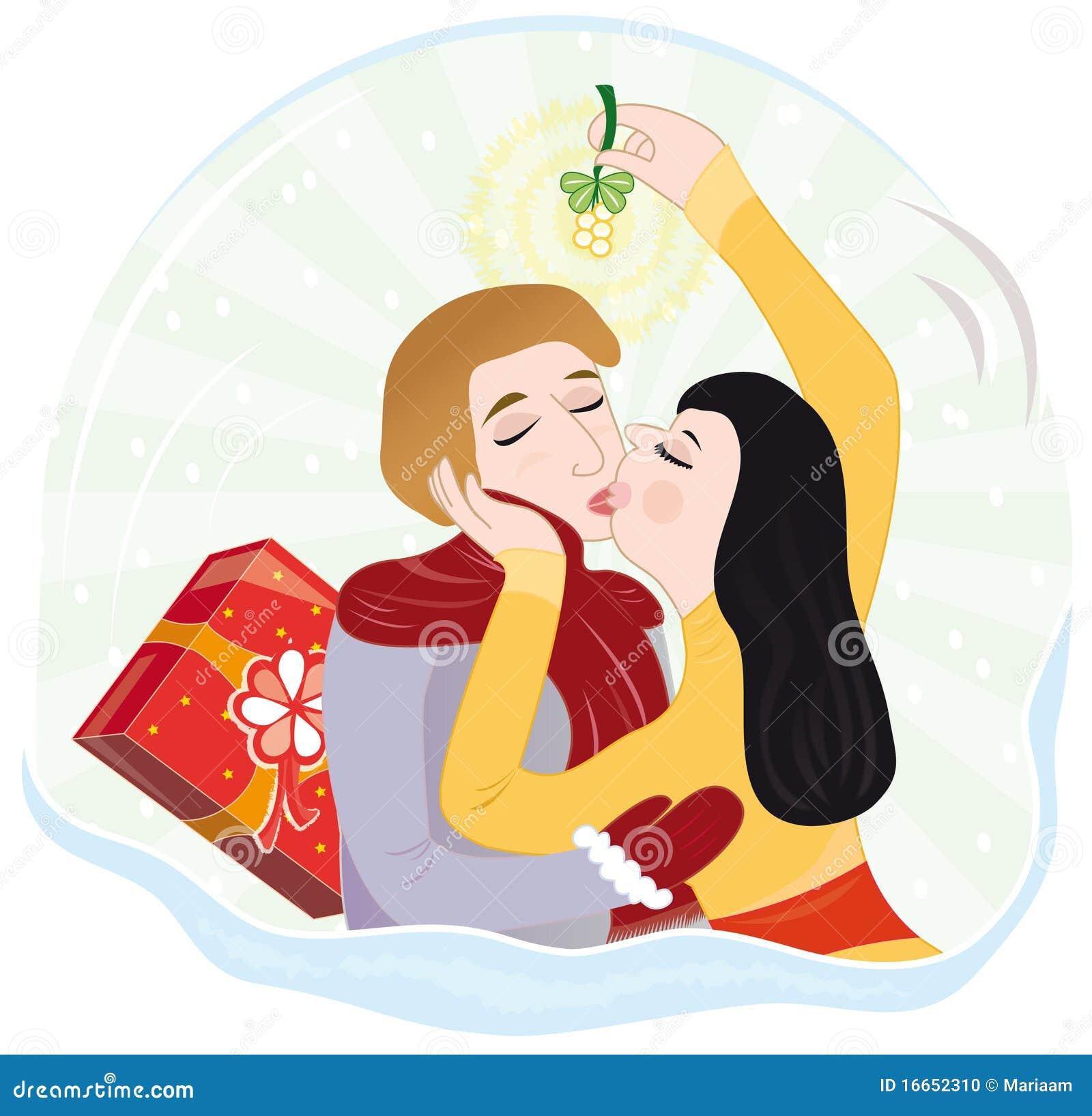 baiser sous le gui illustration stock illustration du. Black Bedroom Furniture Sets. Home Design Ideas