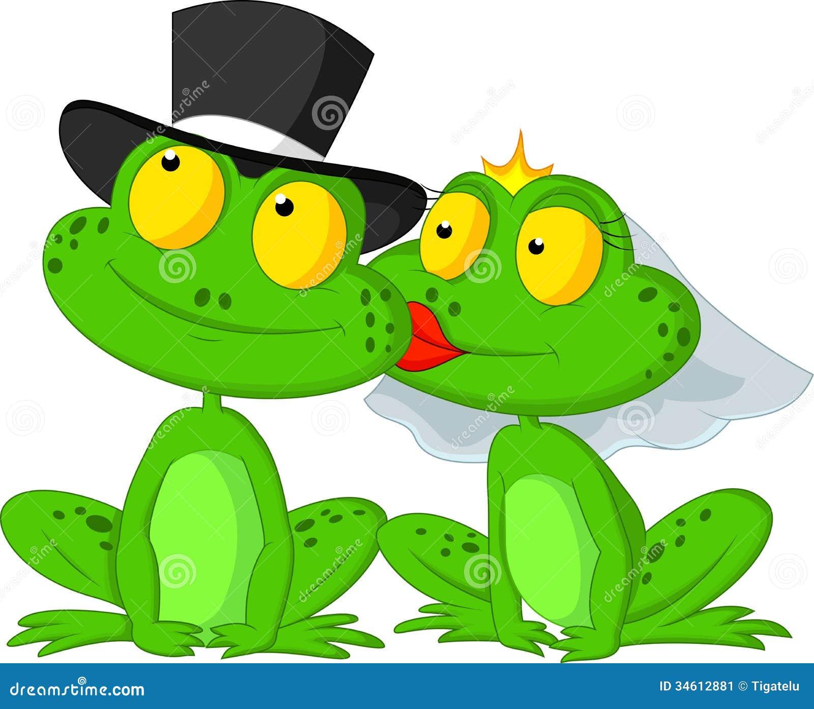 Baisers mariés de bande dessinée de grenouille