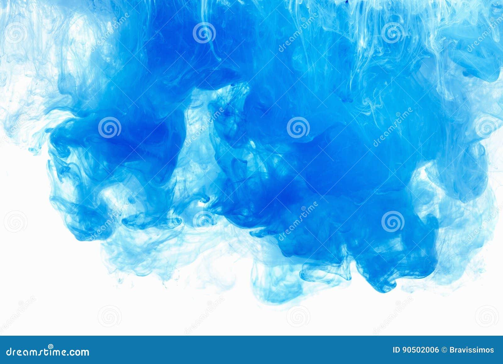5983f6f7093 Baisse abstraite d encre de couleur de fond dans l eau Nuage bleu de  peinture sur