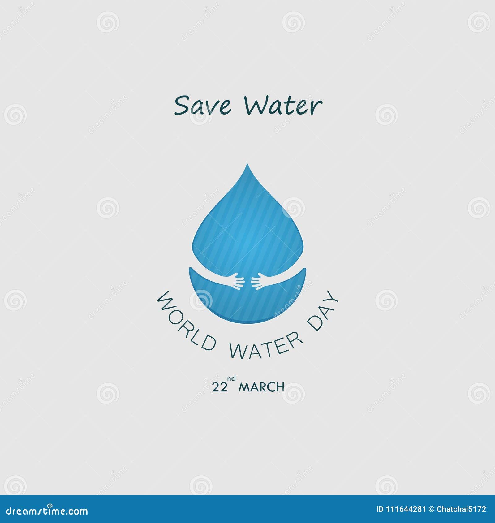 Baisse de l eau avec le calibre humain de conception de logo de vecteur de main Monde Wat
