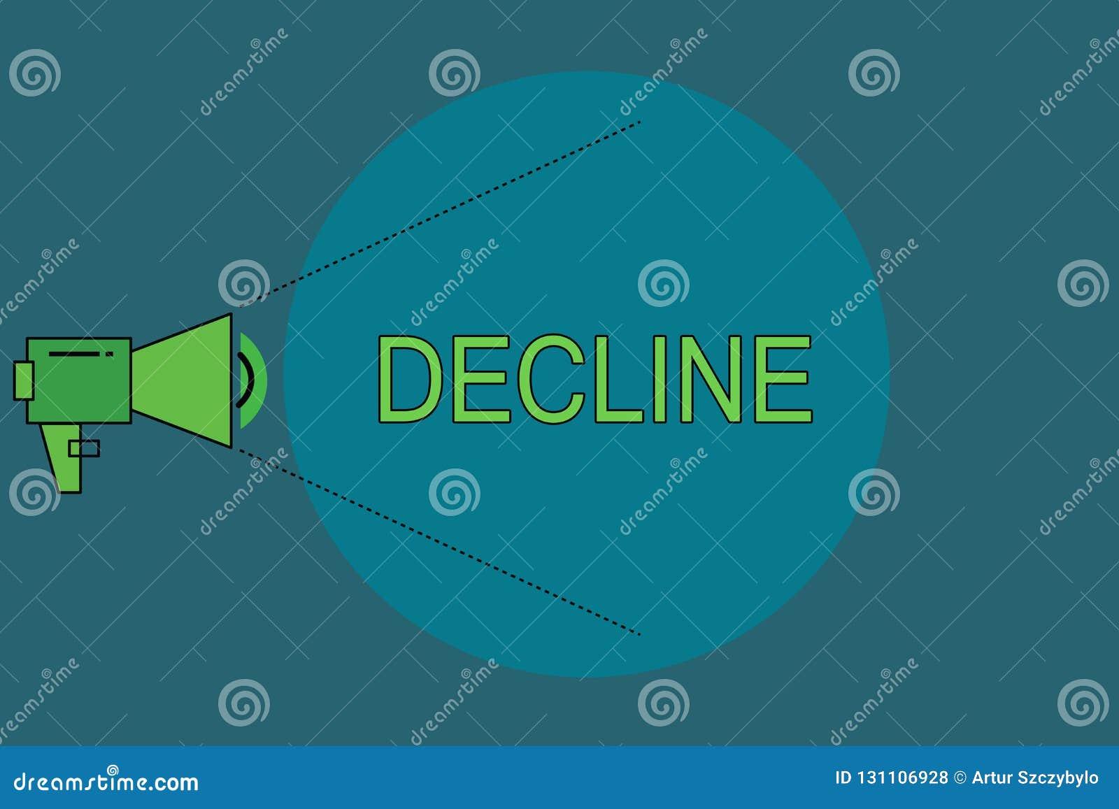 Baisse des textes d écriture de Word Le concept d affaires pour Become plus petit moins que moins de diminution refusent poliment