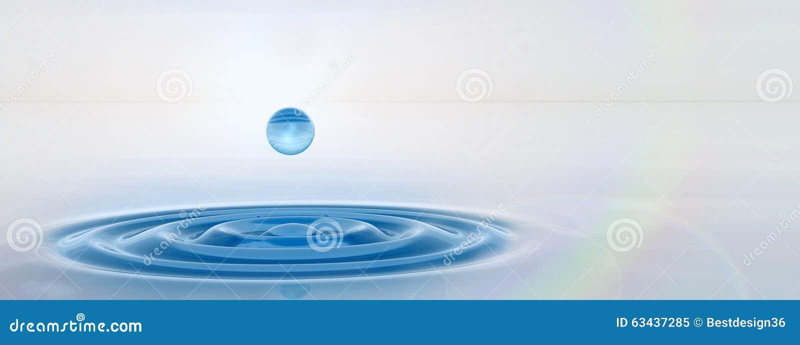 Baisse liquide bleue conceptuelle tombant dans la bannière de l eau