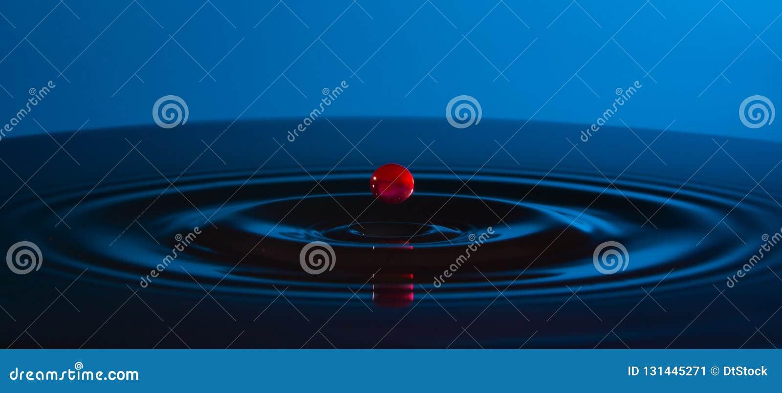 Baisse rouge de l eau et des cercles sur l eau sur le fond bleu