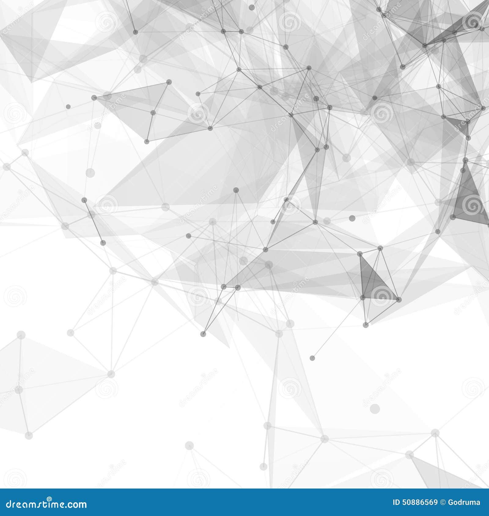 Baixo vetor brilhante branco poli abstrato da tecnologia