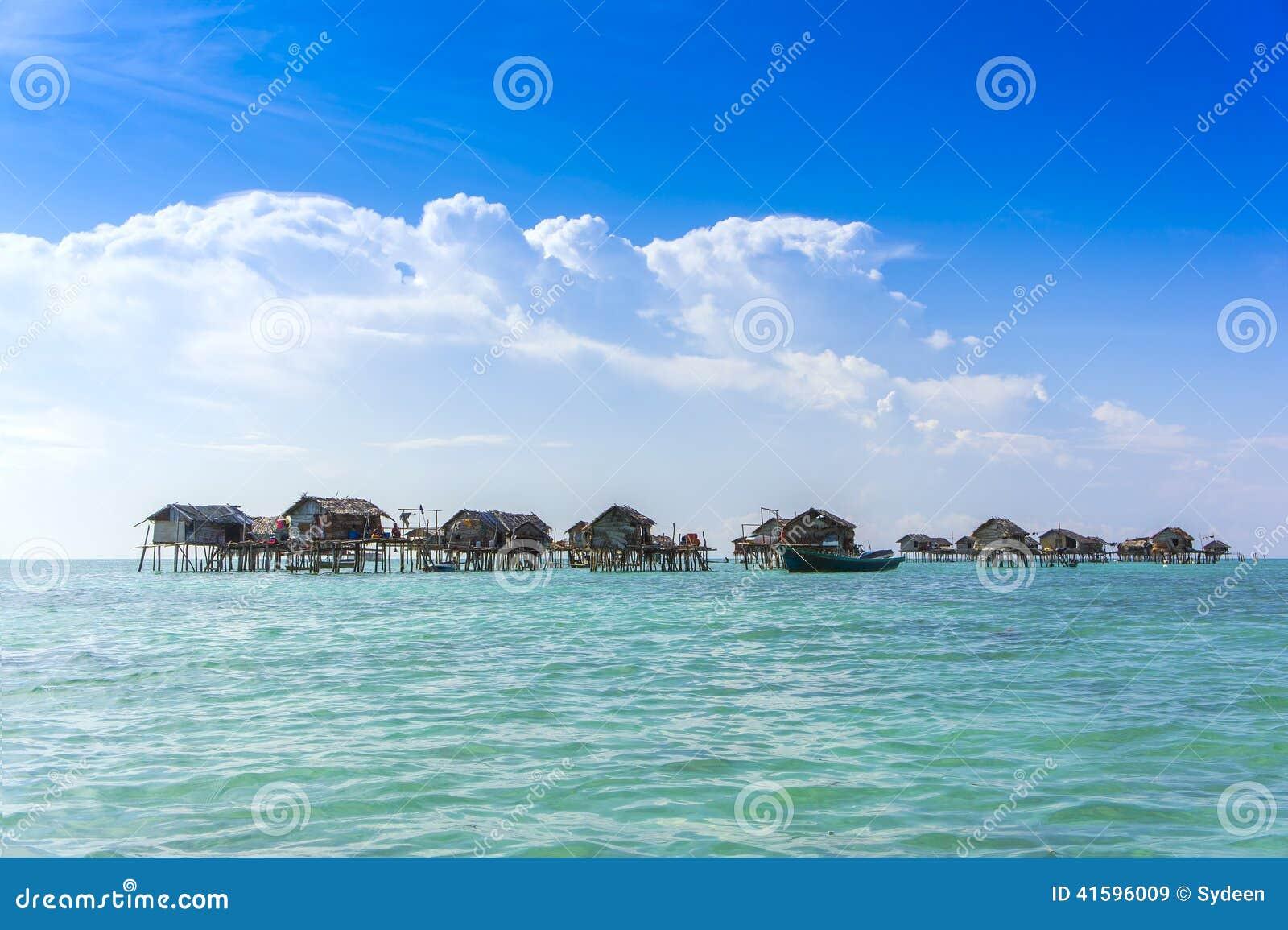 Bajau Floating House Stock Photo Image 41596009