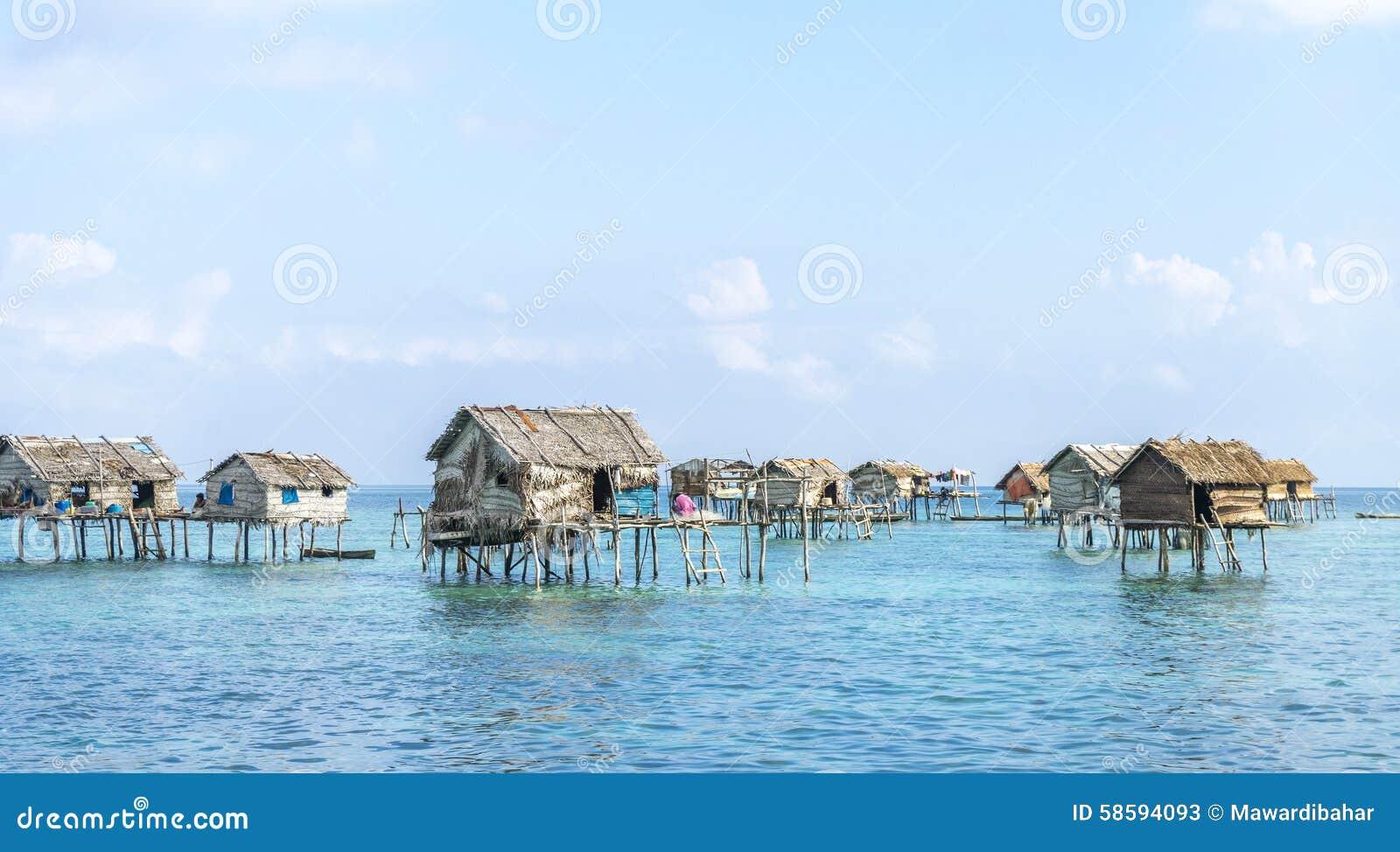 Bajau Laut House Stock Photo Image 58594093