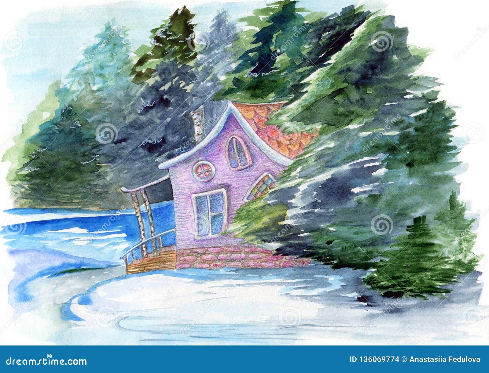 Bajecznie ręka rysująca akwareli ilustracja z fairyhouse w zimy tajemnicy lasowym domu otaczającym drzewami i wodą na w
