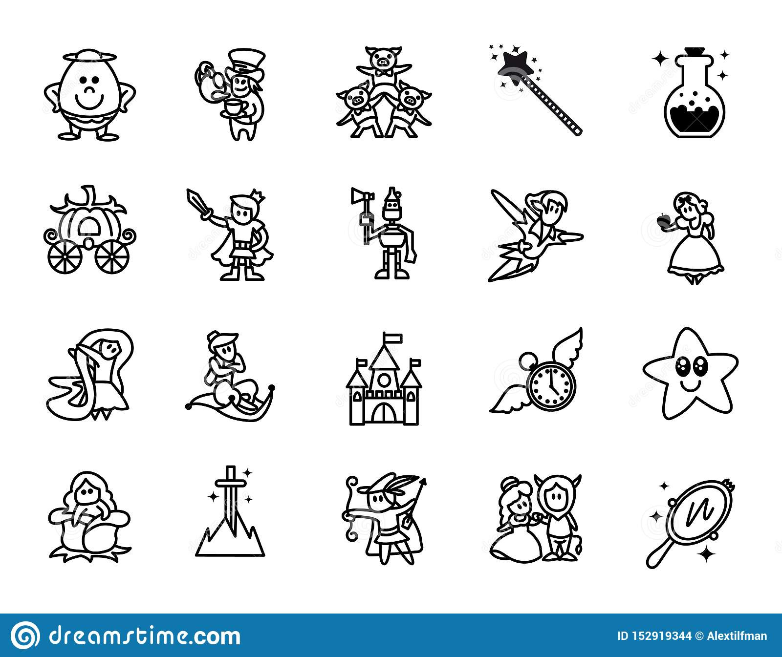 Bajek ikony ustawia? Set fantazje Odnosić sie wektor linii ikony Set 20 minimalnych bajek ikon