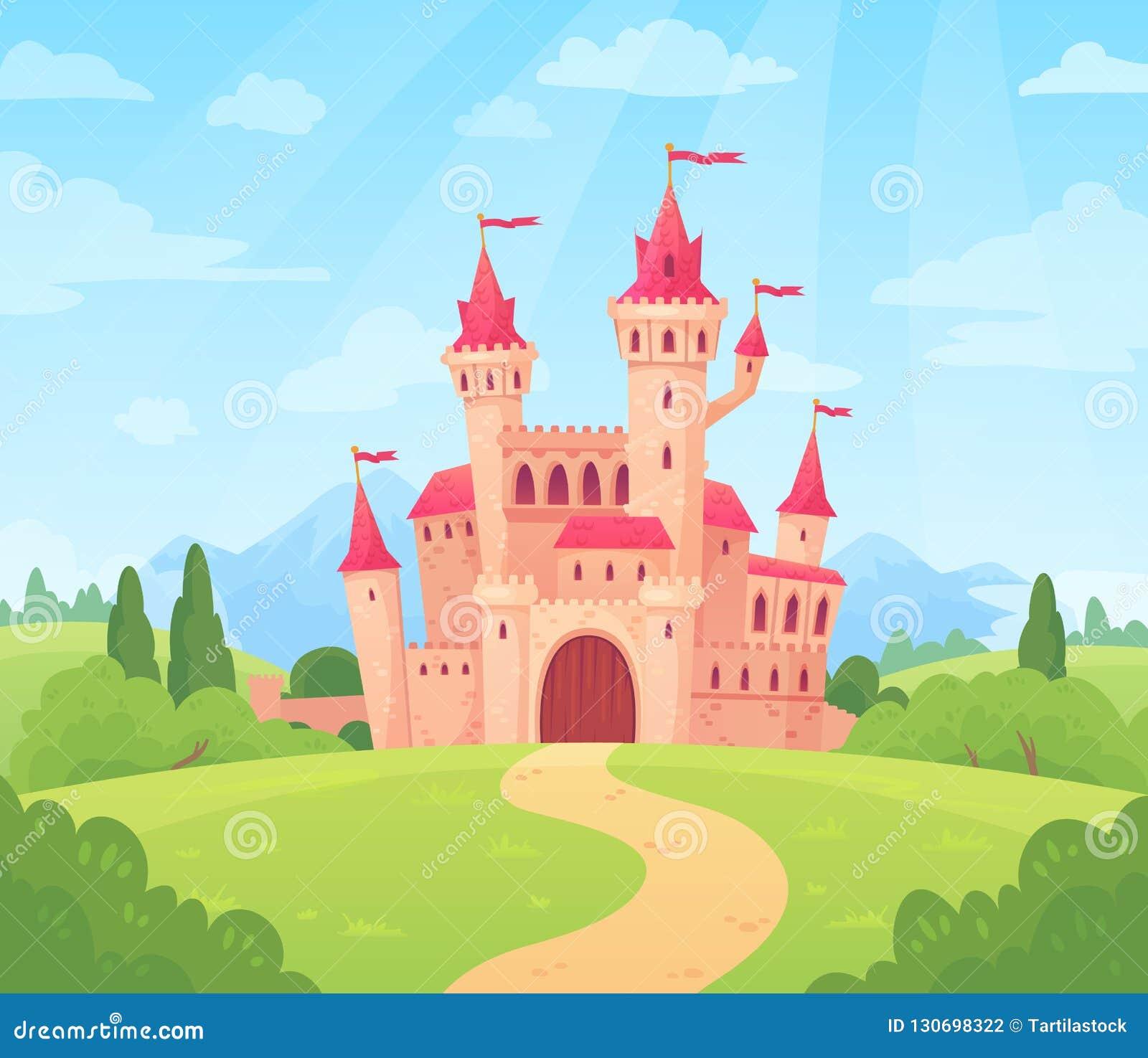 Bajka krajobraz z kasztelem Fantazja pałac wierza, fantastyczny czarodziejka dom lub magia, roszujemy królestwo kreskówki wektor