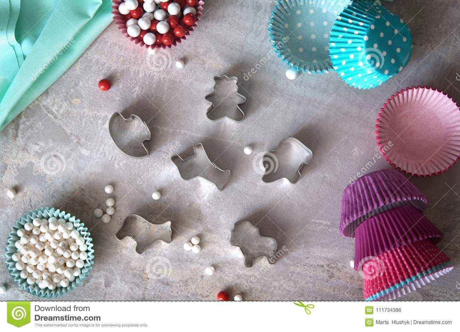 Bak hulpmiddelen voor koekje en cupcake bakselkop Hoogste mening