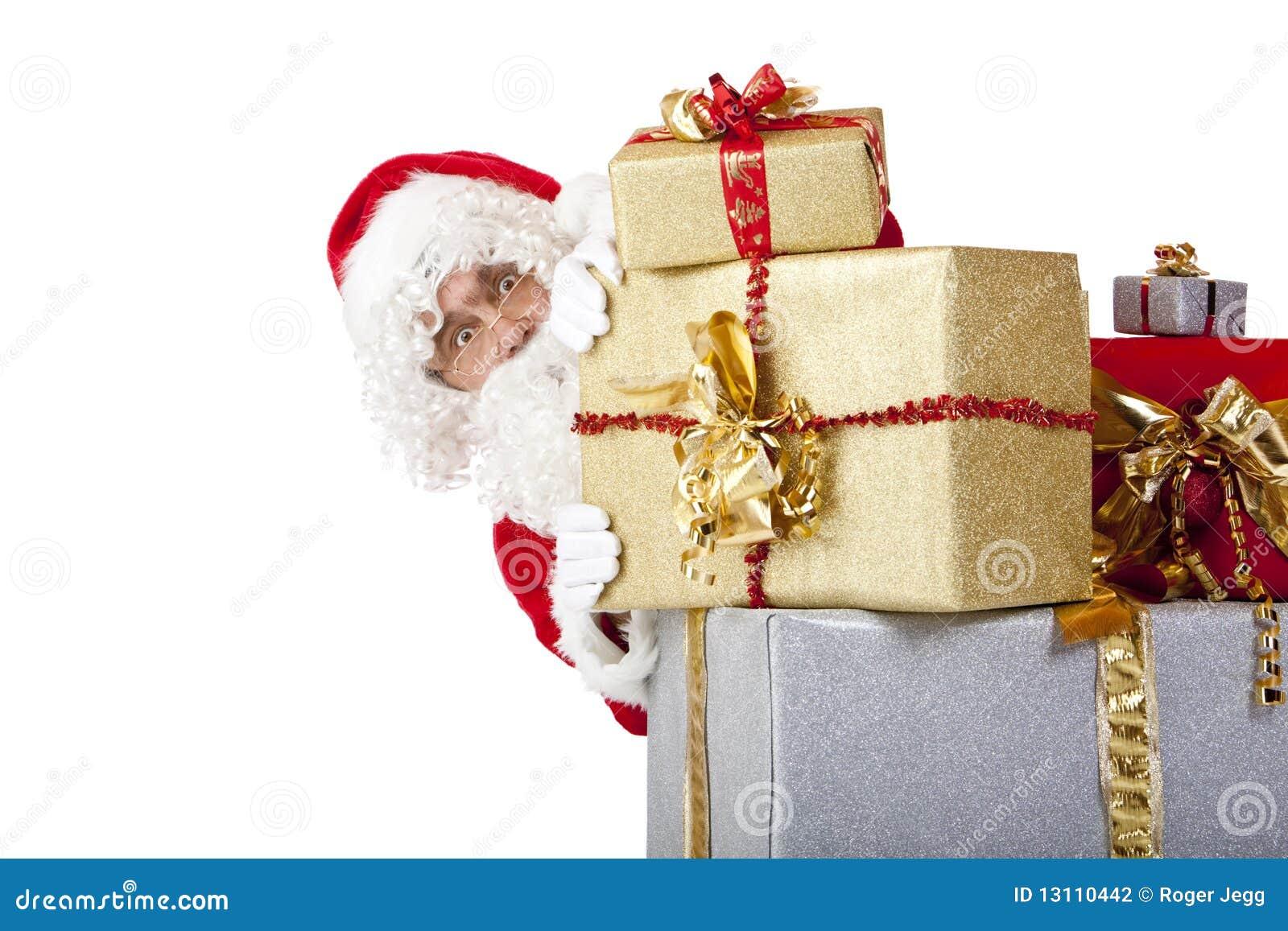 Bak nederlag santa för askjulclaus gåva