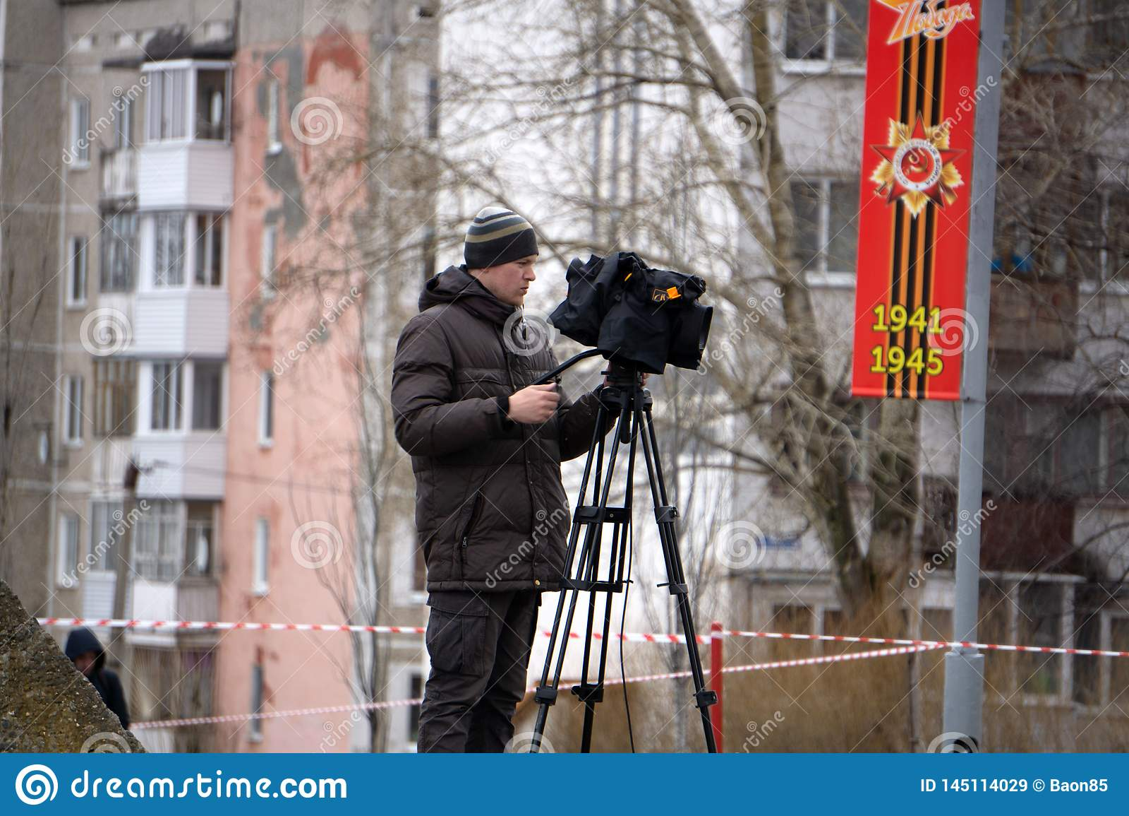 Bak platserna av video produktion eller video skytte - Ryssland - Berezniki p? 9 kan 2018