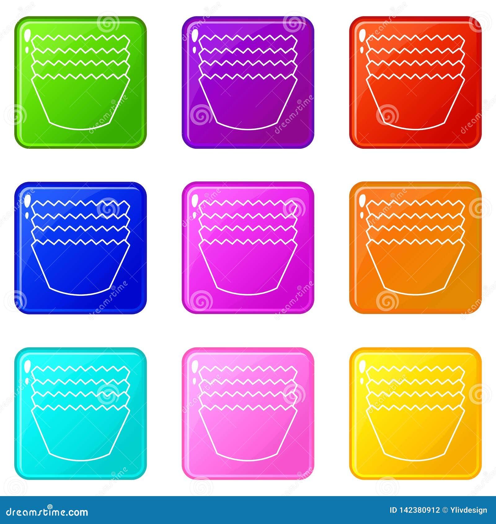 Baka samlingen för färg för formsymbolsuppsättning 9