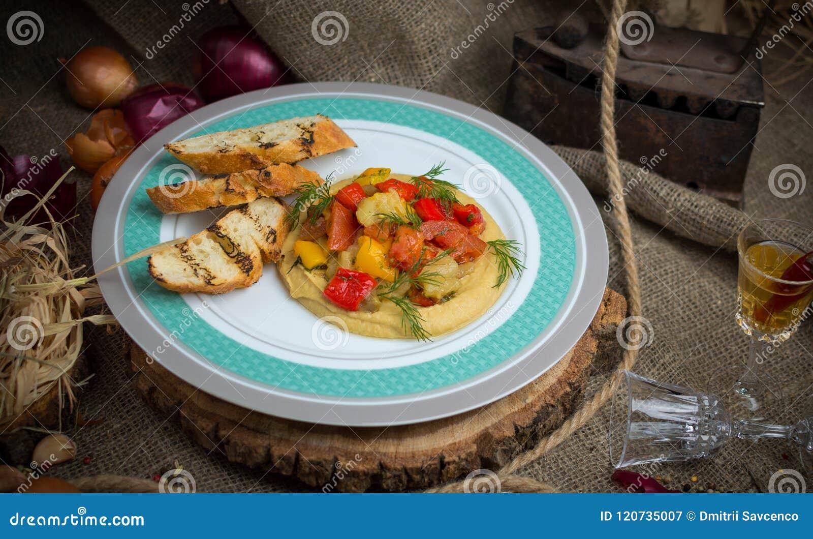 Bakade grönsaker med krutonger